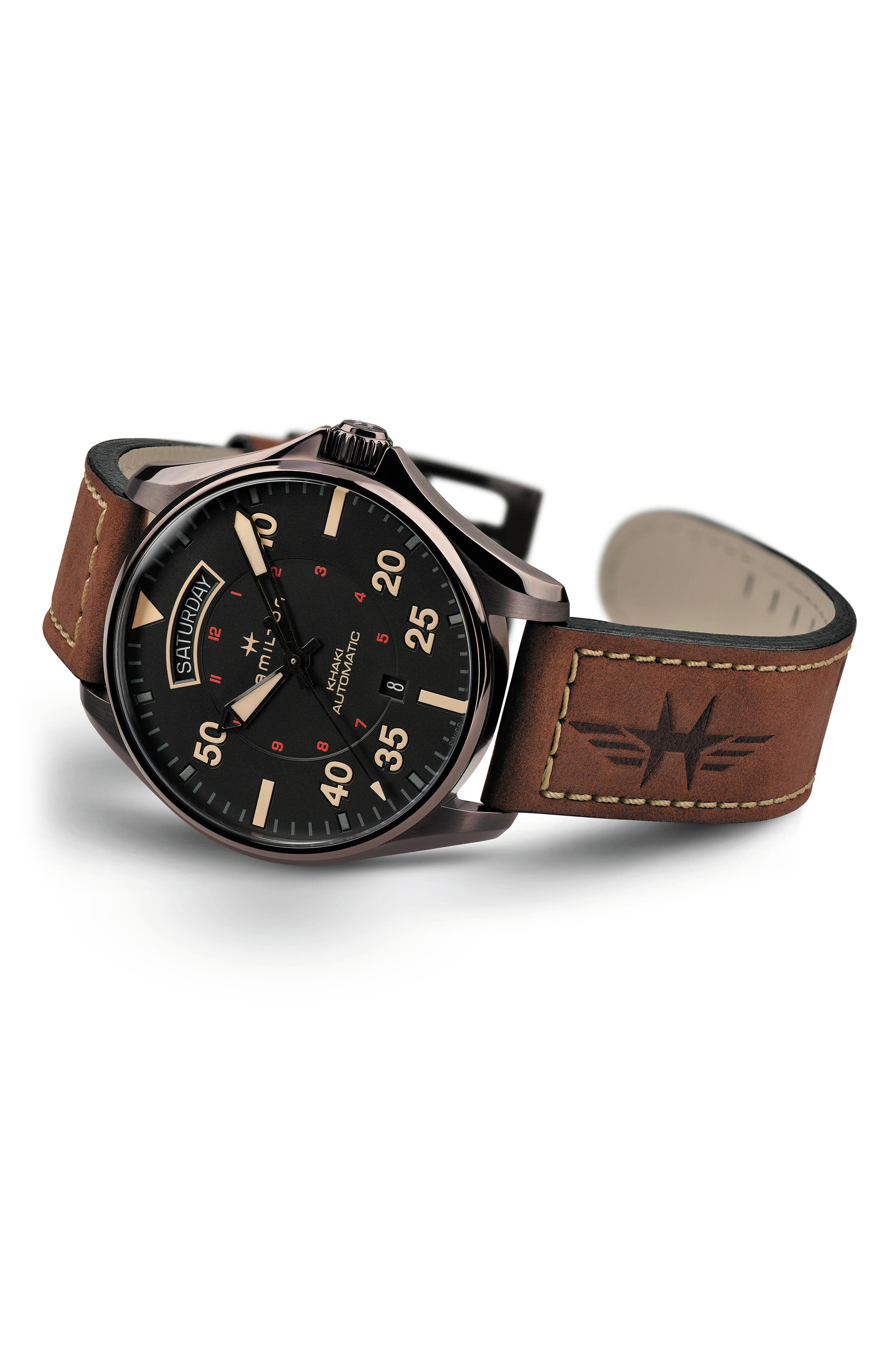 HAMILTON, Khaki Aviation Automatic Leather Strap Watch, 42mm, Alternate thumbnail 2, color, BROWN/ BLACK
