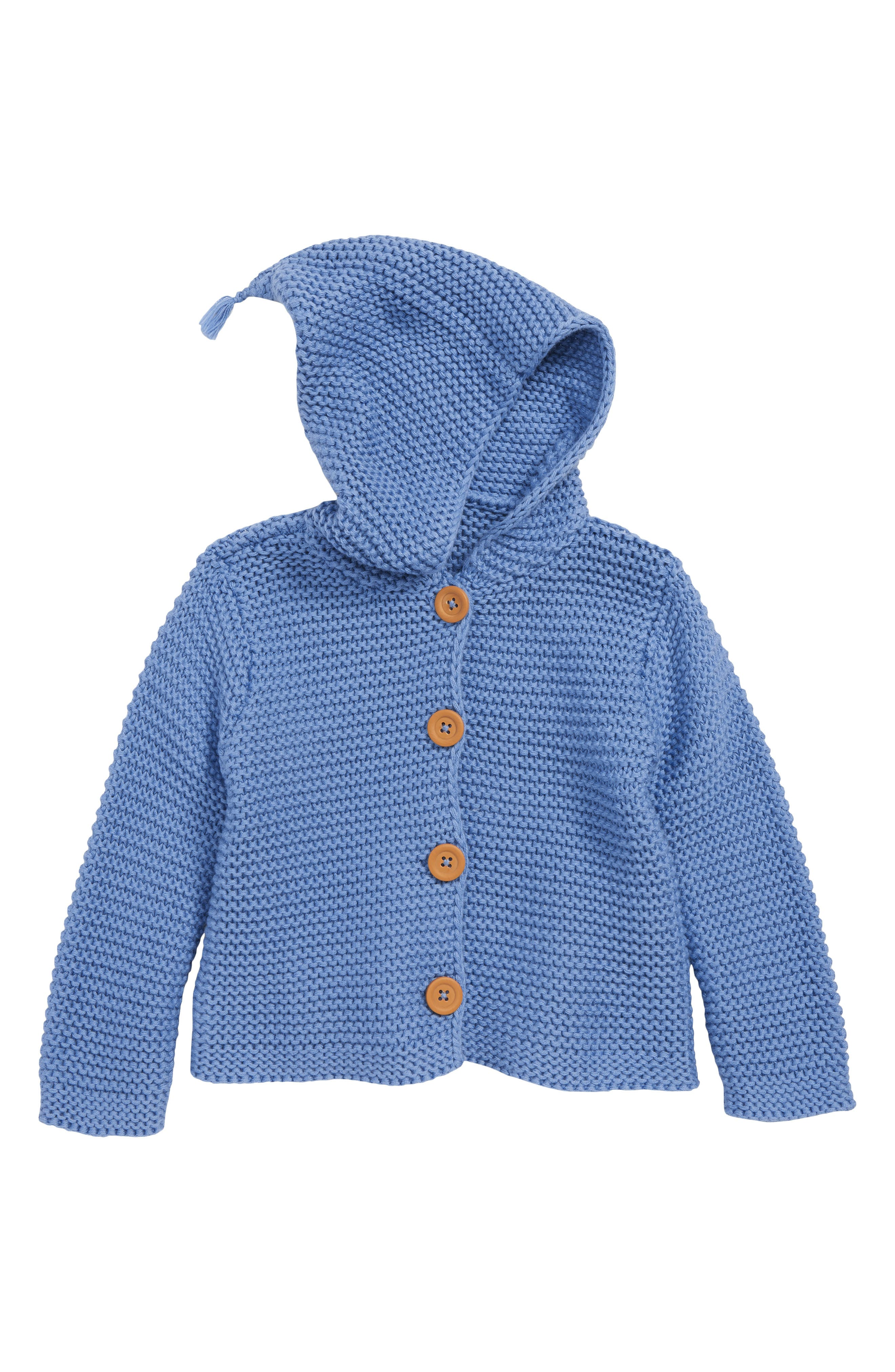 NORDSTROM BABY, Lofty Organic Cotton Hooded Cardigan, Main thumbnail 1, color, BLUE RIVIERA