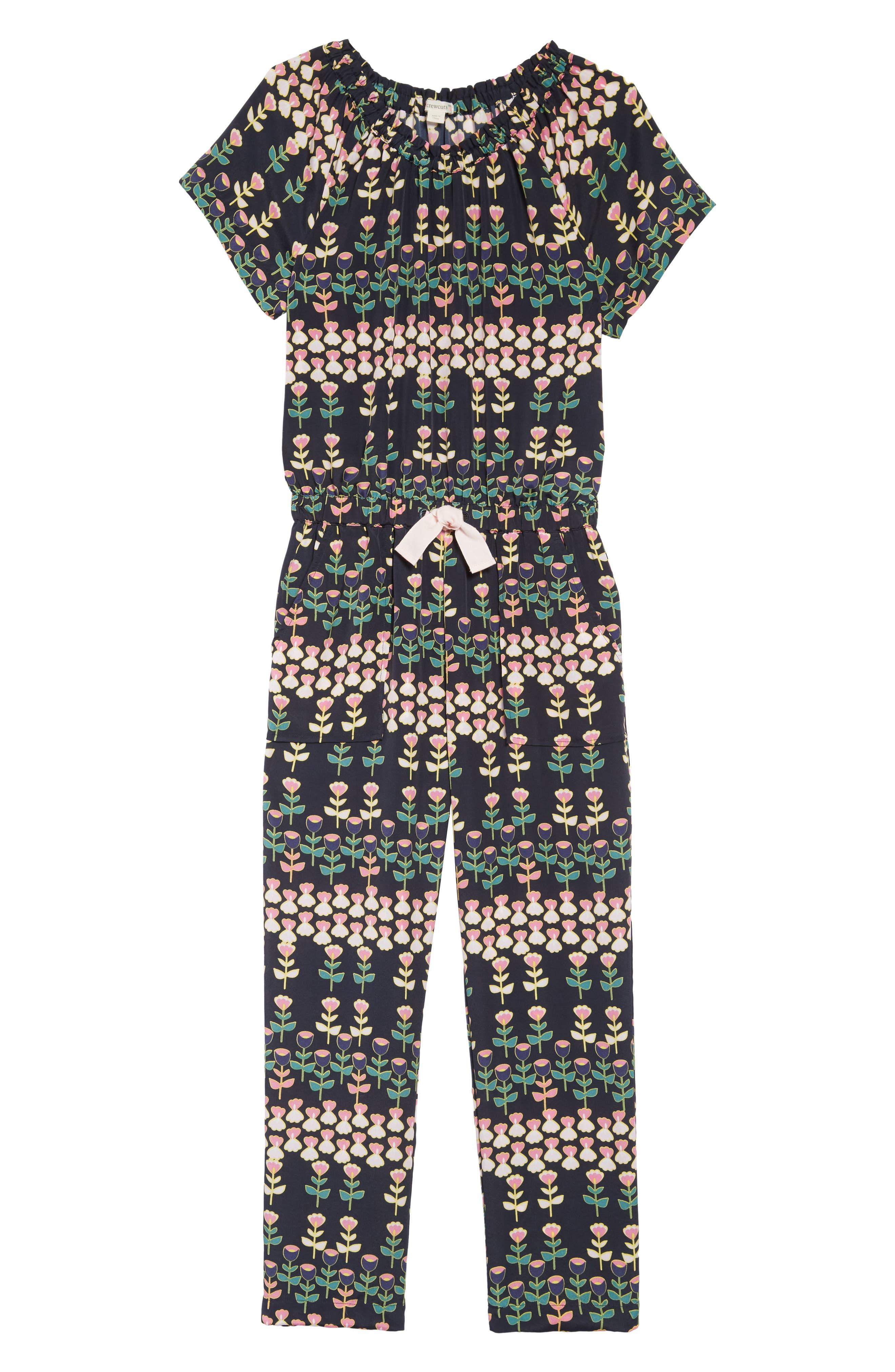 CREWCUTS BY J.CREW, Naomi Floral Print Jumpsuit, Main thumbnail 1, color, 411
