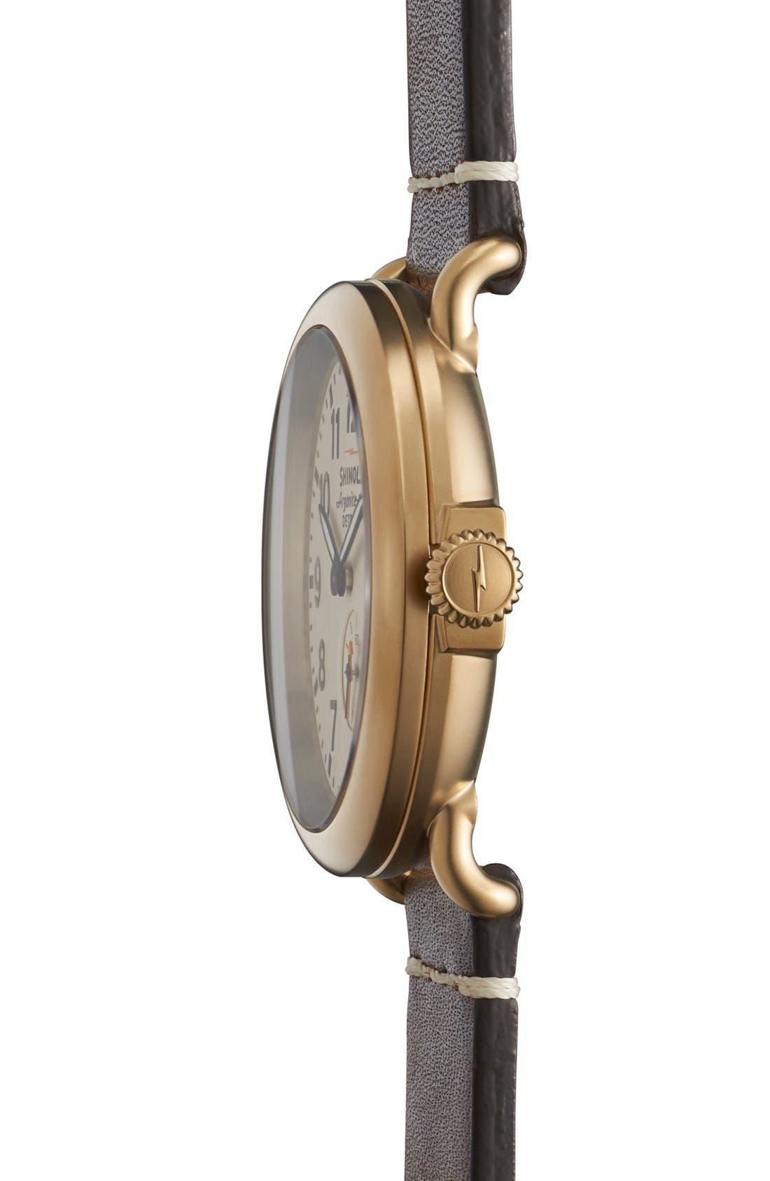 SHINOLA, 'The Runwell' Leather Strap Watch, 41mm, Alternate thumbnail 6, color, DARK COGNAC/ GUNMETAL/ GREY