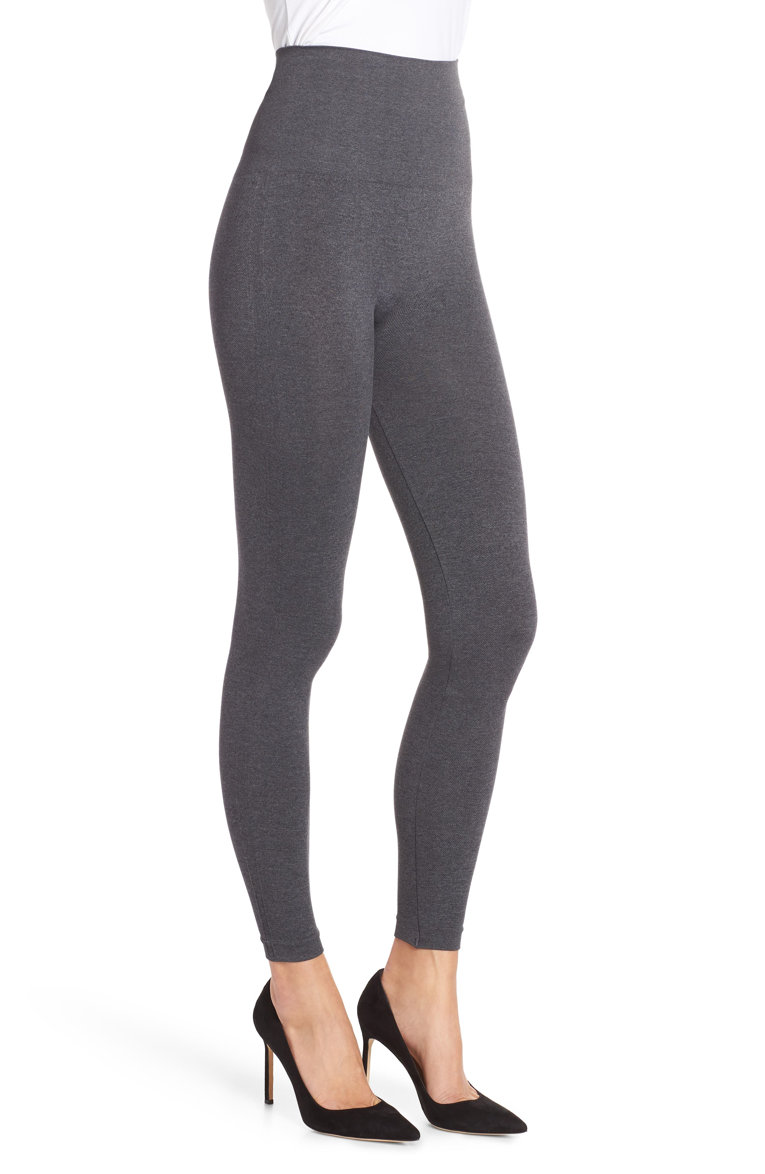 SPANX<SUP>®</SUP>, Look at Me Now' Seamless Leggings, Alternate thumbnail 4, color, HEATHER CHARCOAL