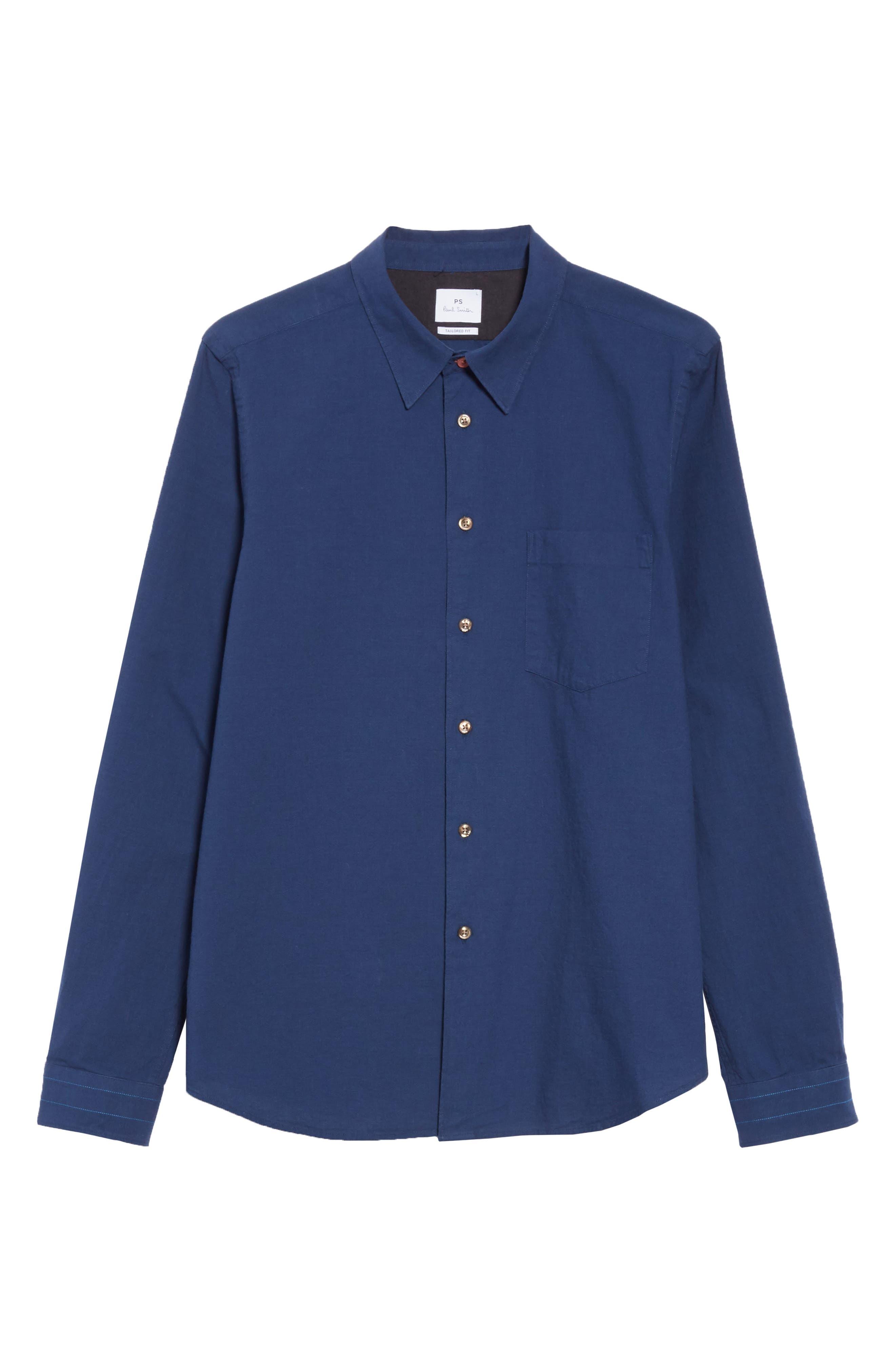 PS PAUL SMITH, Contrast Sport Shirt, Alternate thumbnail 5, color, BLUE