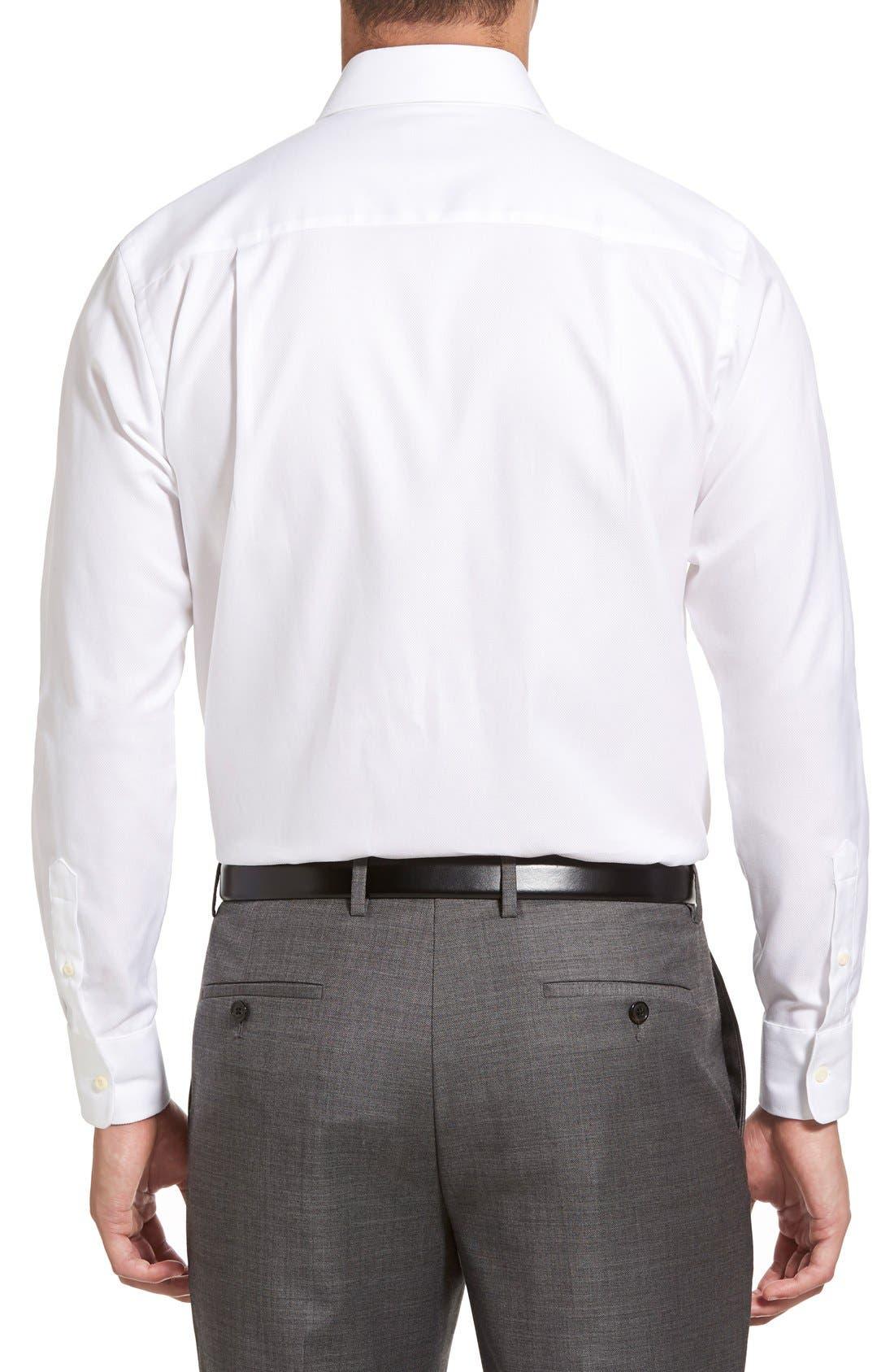 DAVID DONAHUE, Trim Fit Dress Shirt, Alternate thumbnail 6, color, WHITE
