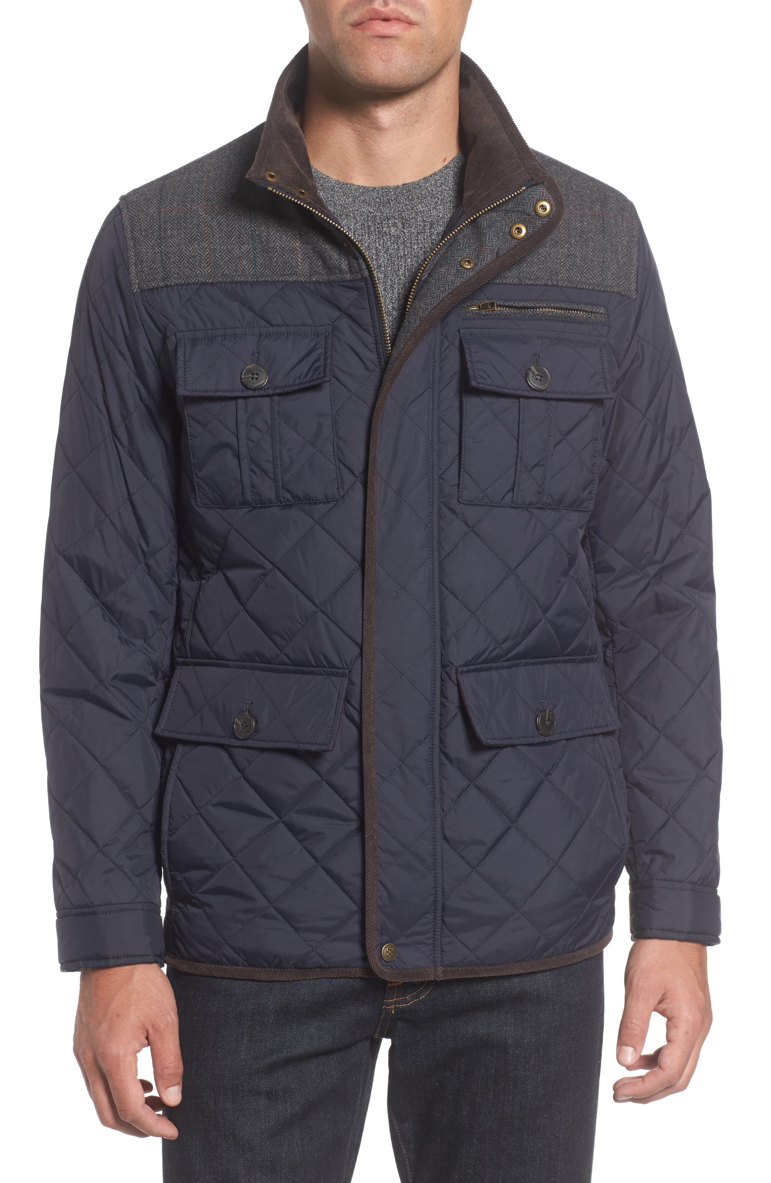 VINCE CAMUTO, Diamond Quilted Full Zip Jacket, Alternate thumbnail 6, color, NAVY
