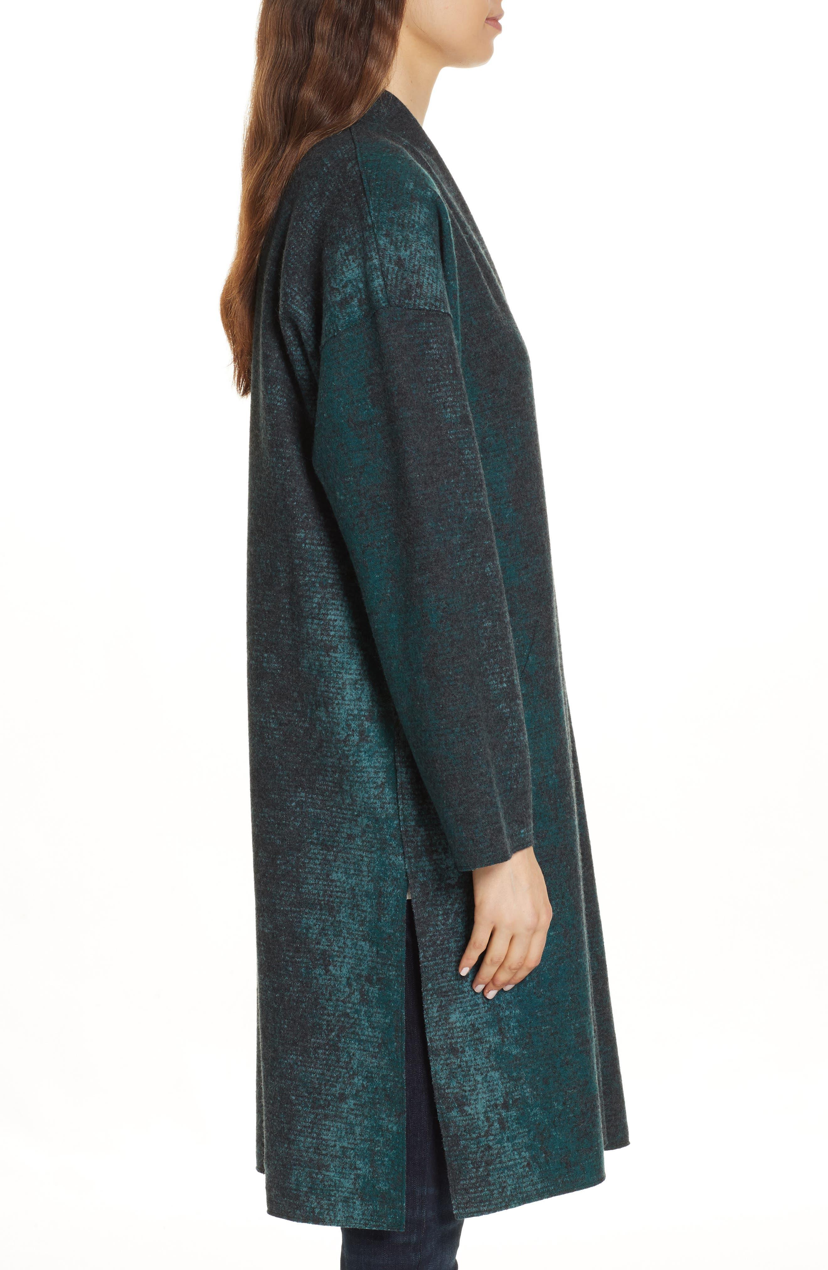 EILEEN FISHER, Wool Blend Kimono Coat, Alternate thumbnail 4, color, PINE