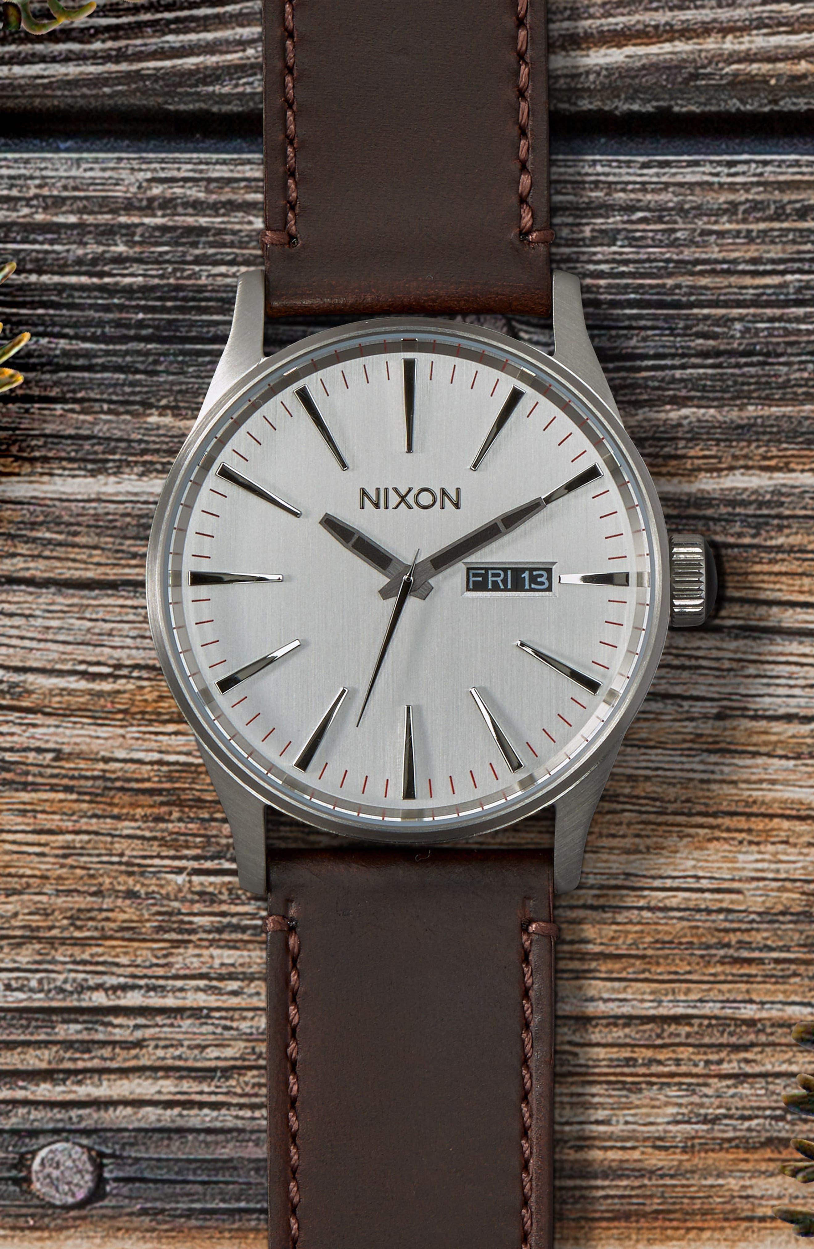 NIXON, The Sentry Leather Strap Watch, 42mm, Alternate thumbnail 3, color, SILVER/ BROWN