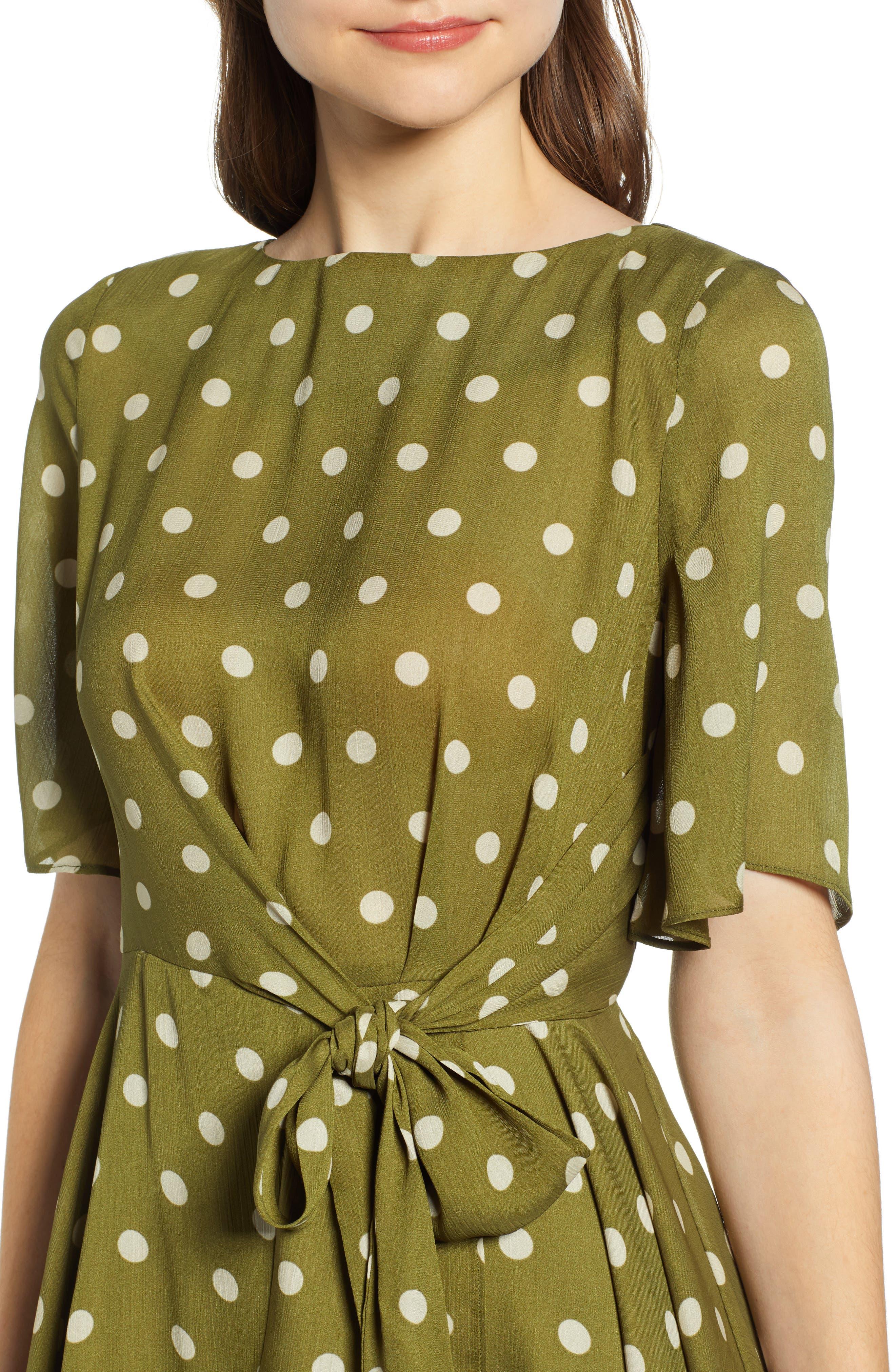 CHRISELLE LIM COLLECTION, Chriselle Lim Marie Handkerchief Hem Midi Dress, Alternate thumbnail 5, color, CREAM/ OLIVE
