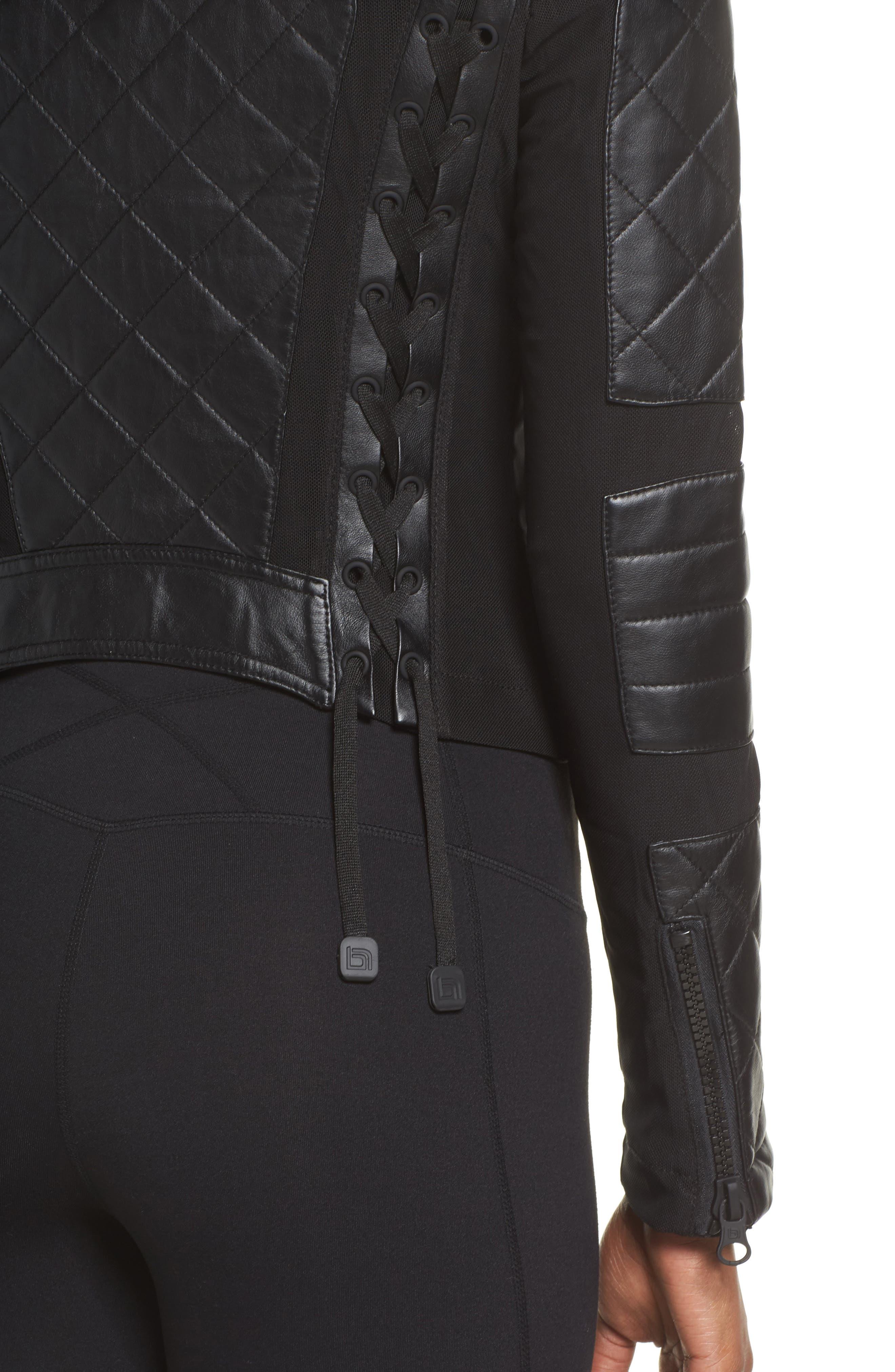 BLANC NOIR, Leather & Mesh Moto Jacket, Alternate thumbnail 5, color, BLACK