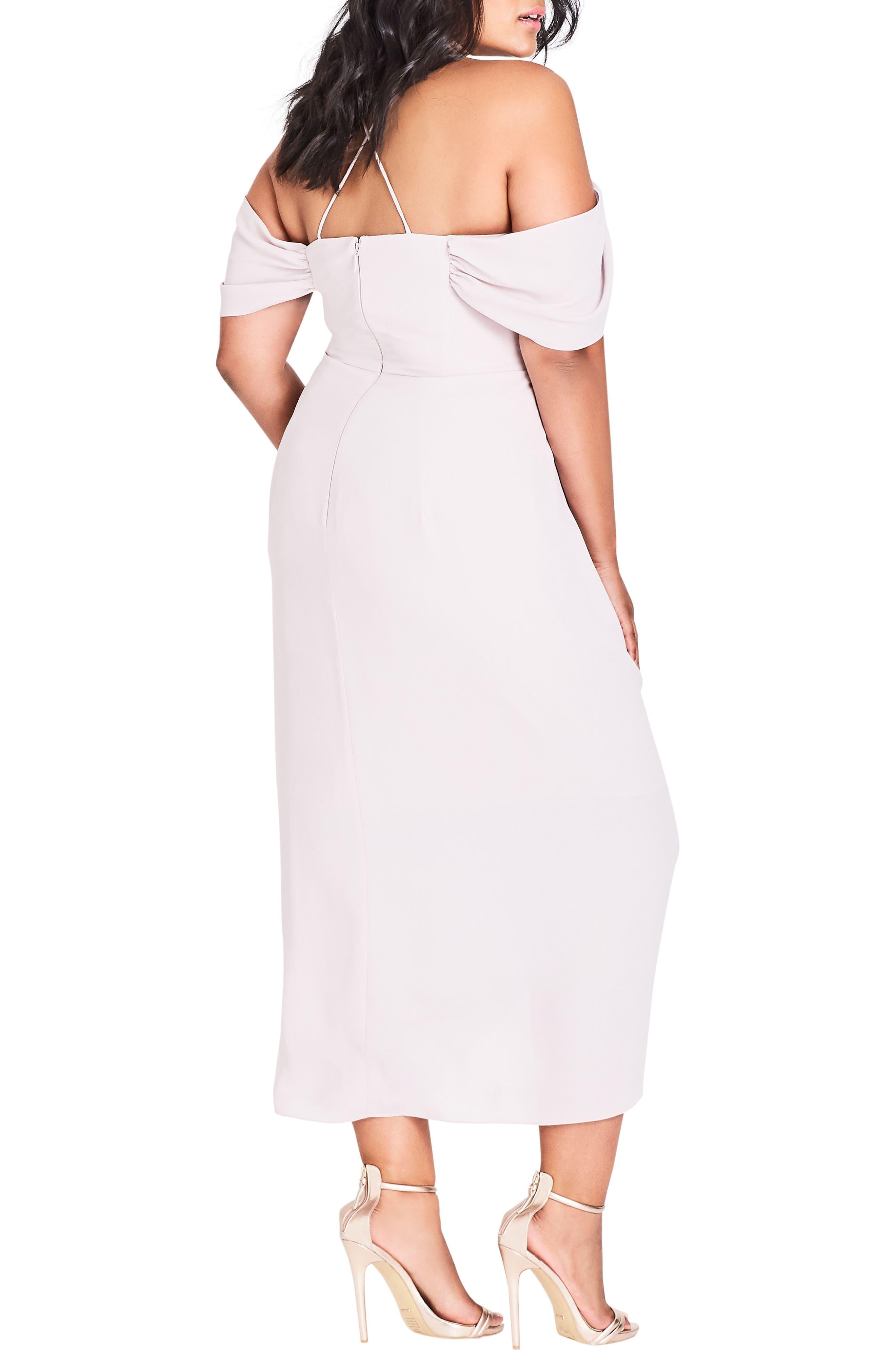 CITY CHIC, Entwine Cold Shoulder Maxi Dress, Alternate thumbnail 2, color, SOFT BLUSH