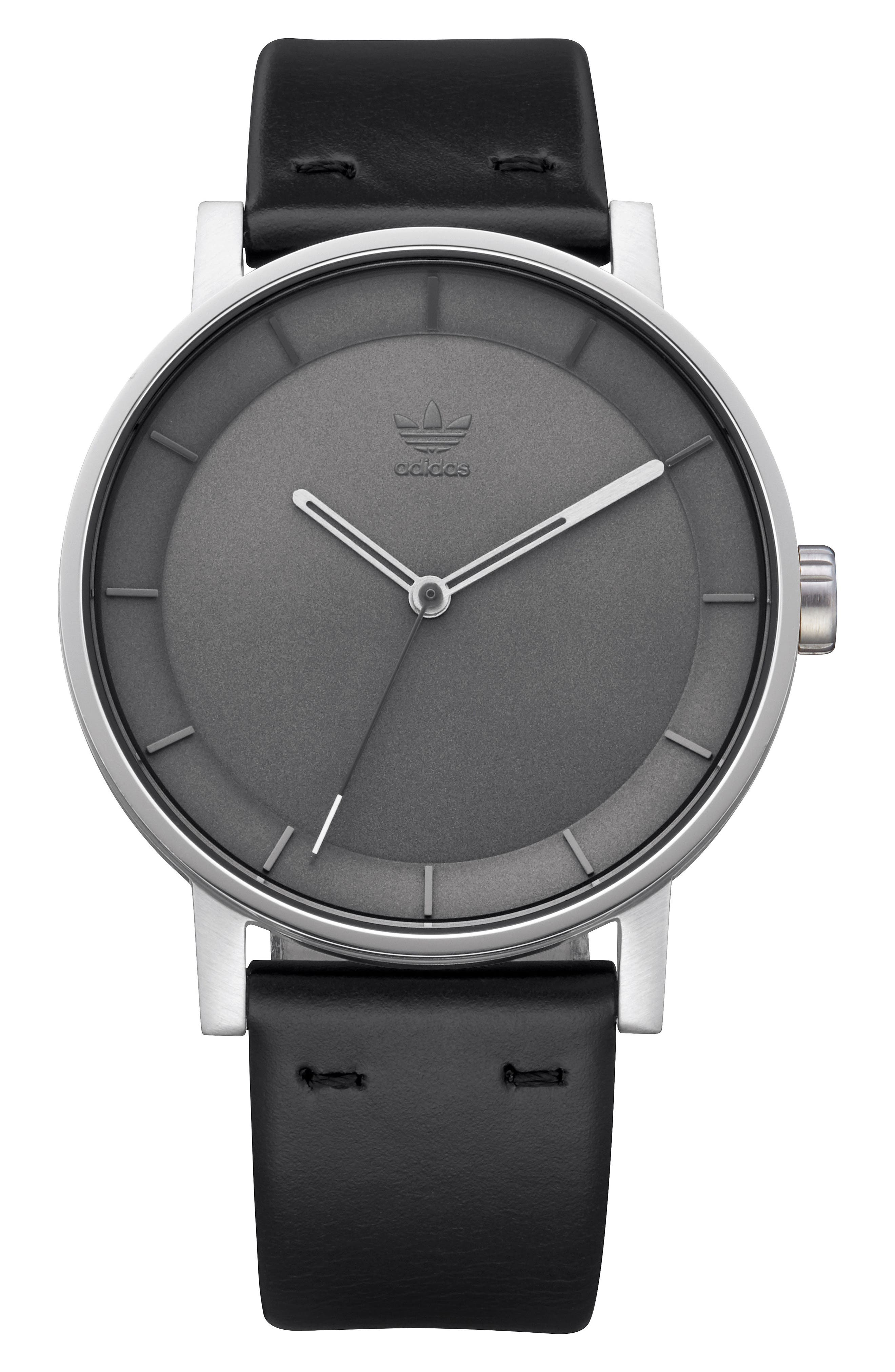 ADIDAS, District Leather Strap Watch, 40mm, Main thumbnail 1, color, BLACK/ CHARCOAL/ SILVER