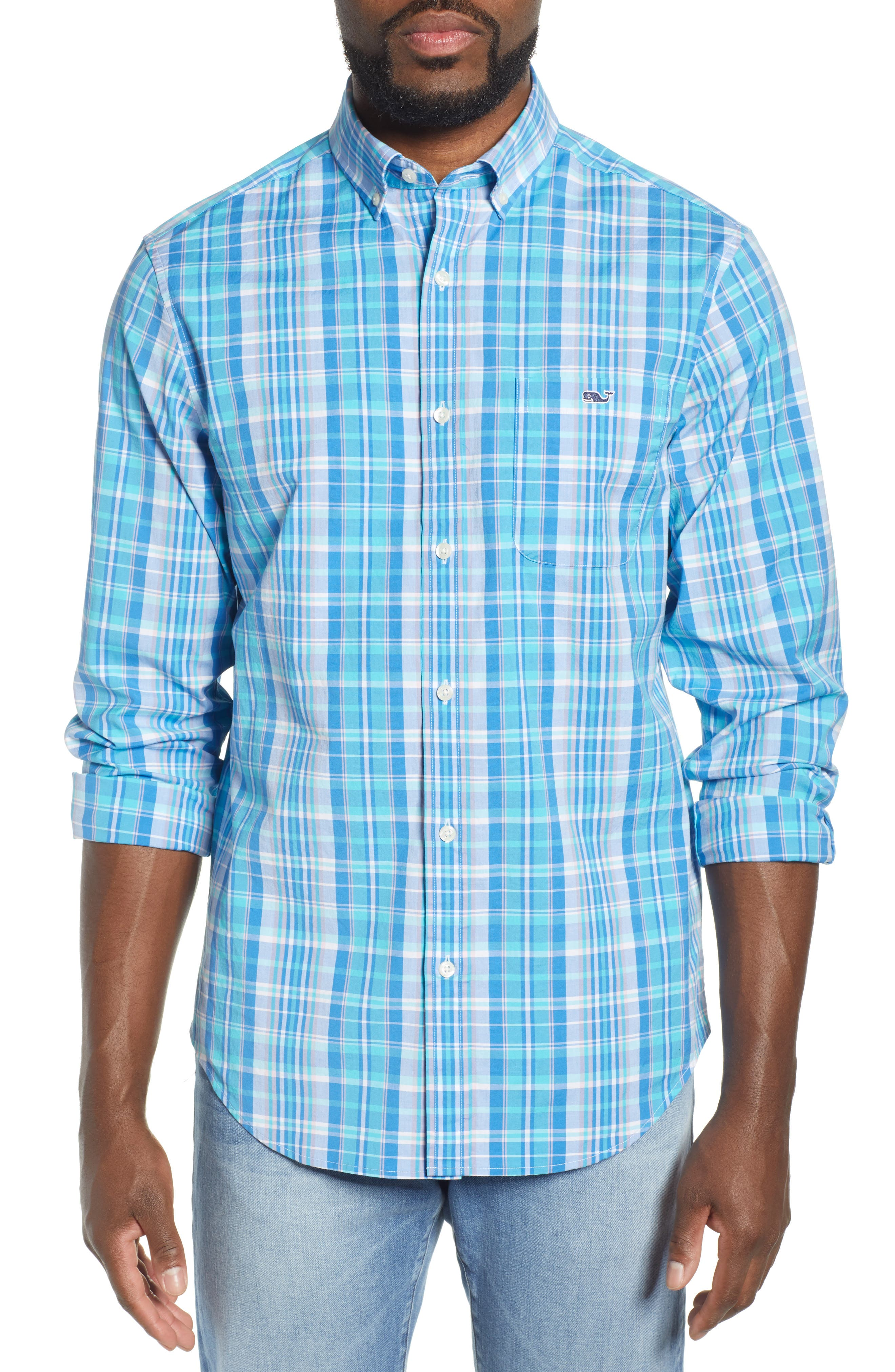 VINEYARD VINES, Tucker Regular Fit Plaid Sport Shirt, Main thumbnail 1, color, JAKE BLUE