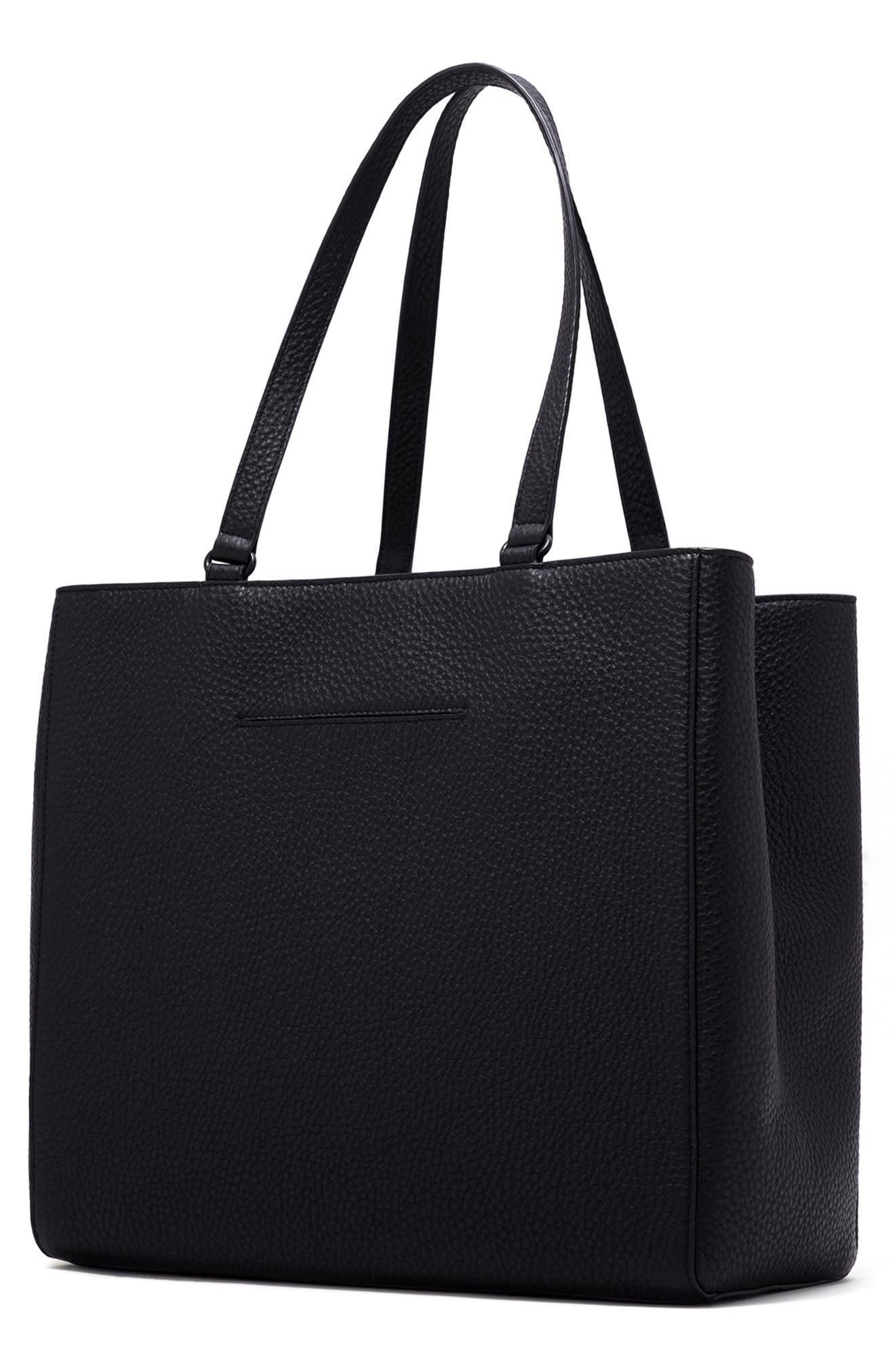 DAGNE DOVER, Large Allyn Leather Tote, Alternate thumbnail 2, color, ONYX