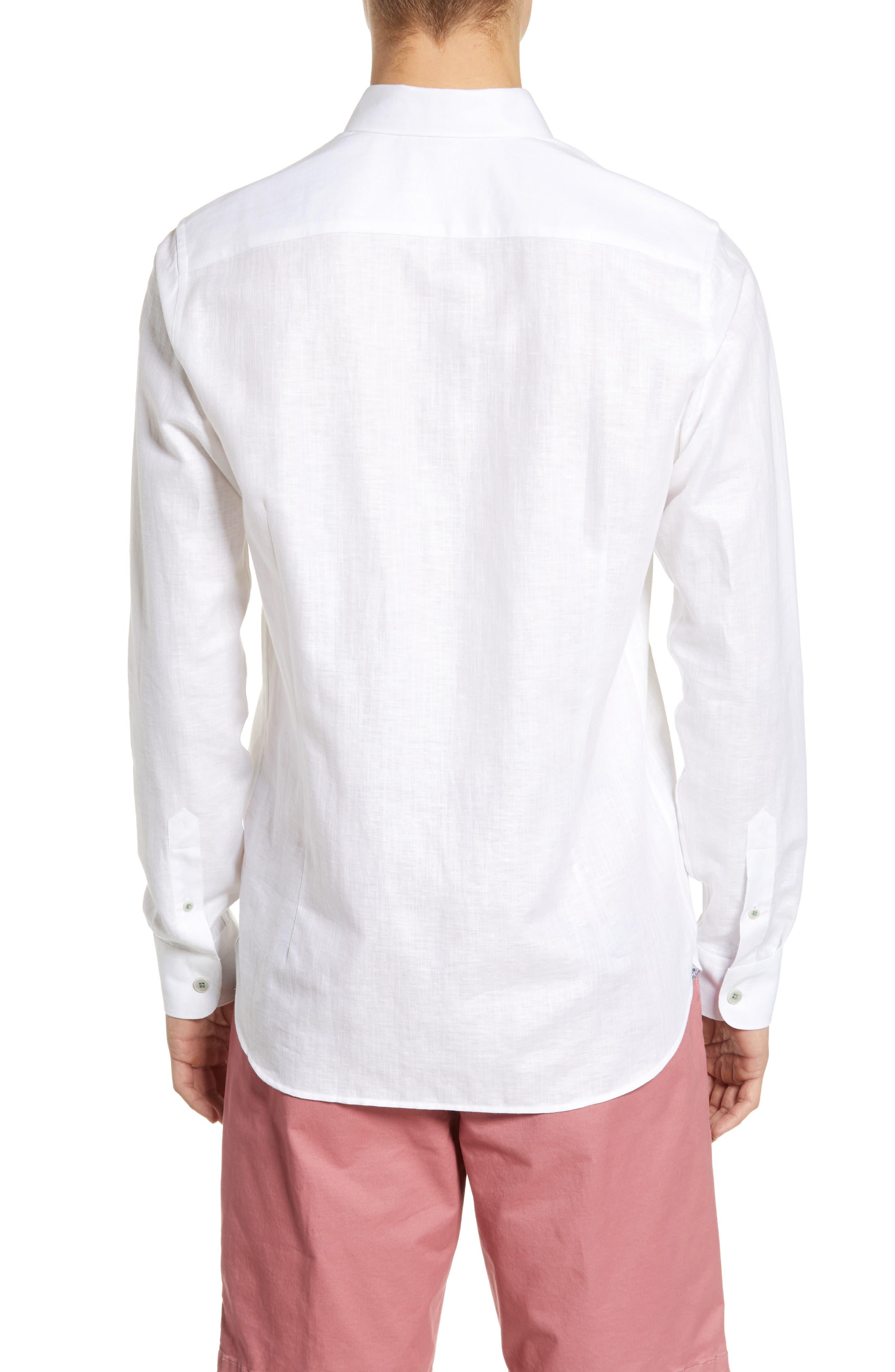 TED BAKER LONDON, Emuu Slim Fit Linen Shirt, Alternate thumbnail 2, color, WHITE