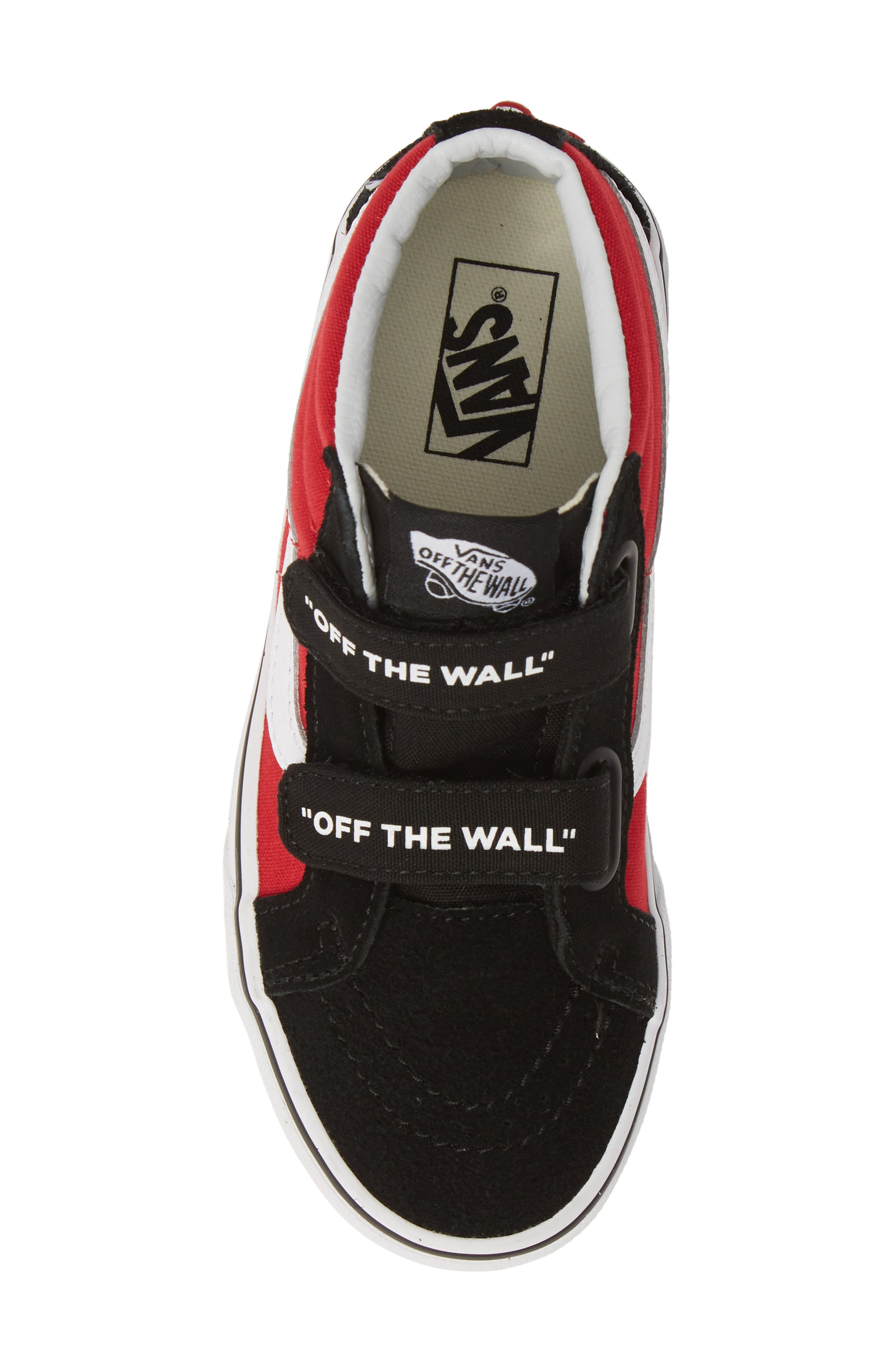 VANS, Sk8-Mid Reissue V Sneaker, Alternate thumbnail 5, color, LOGO POP BLACK/ TRUE WHITE