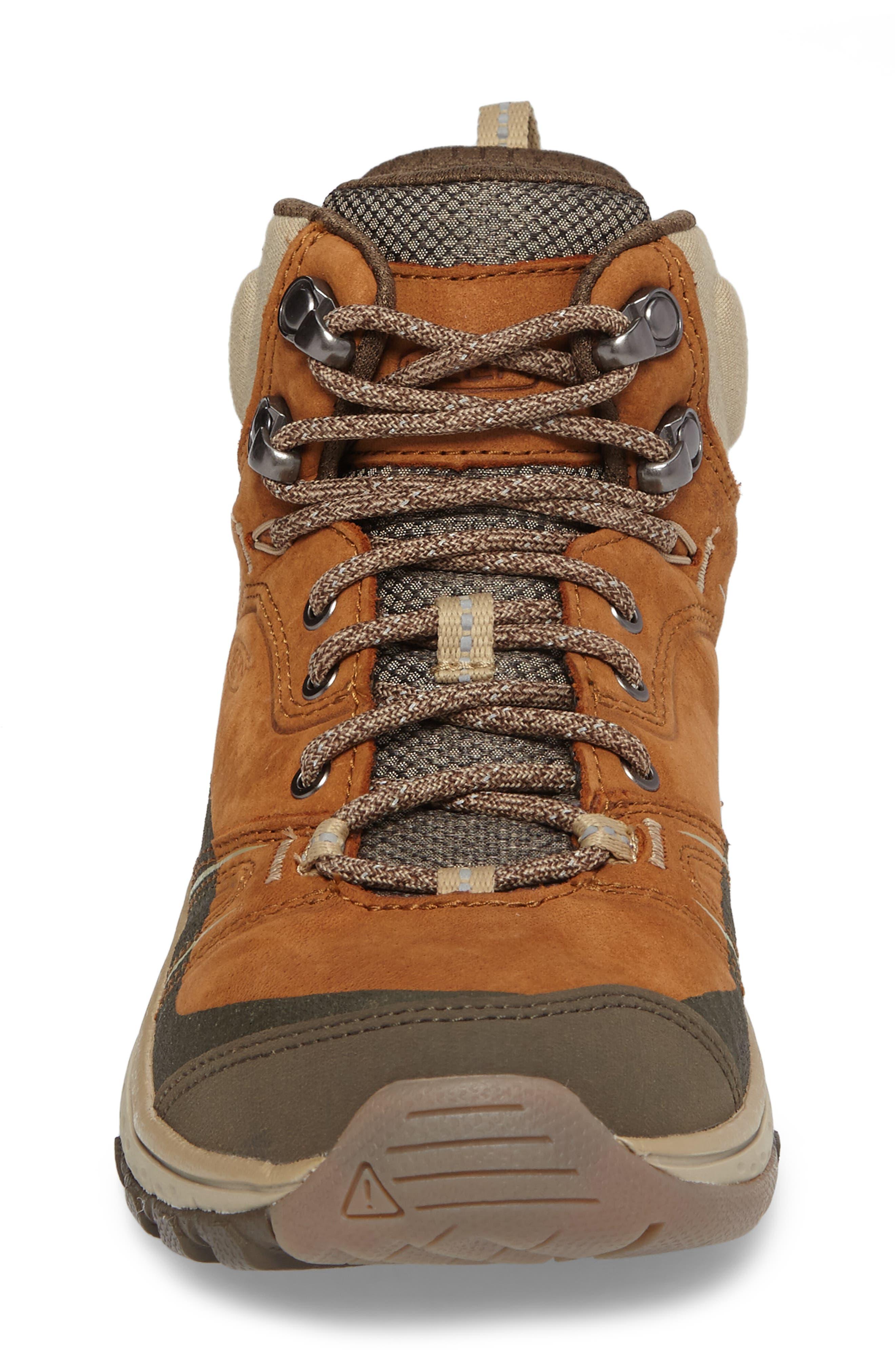 KEEN, Terradora Leather Waterproof Hiking Boot, Alternate thumbnail 4, color, TIMBER/ ORANGE NUBUCK