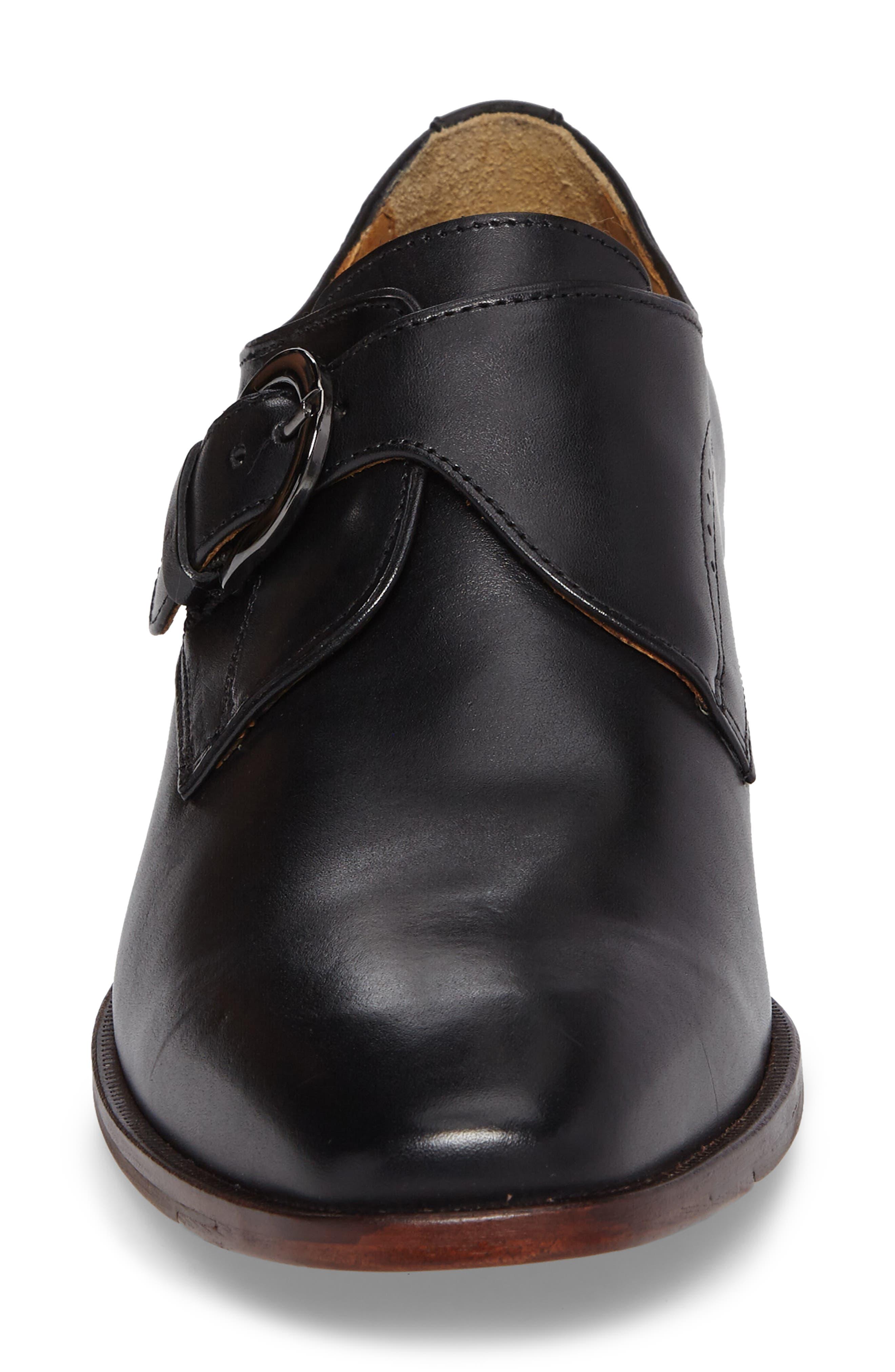 JOHNSTON & MURPHY, McClain Monk Strap Shoe, Alternate thumbnail 4, color, BLACK