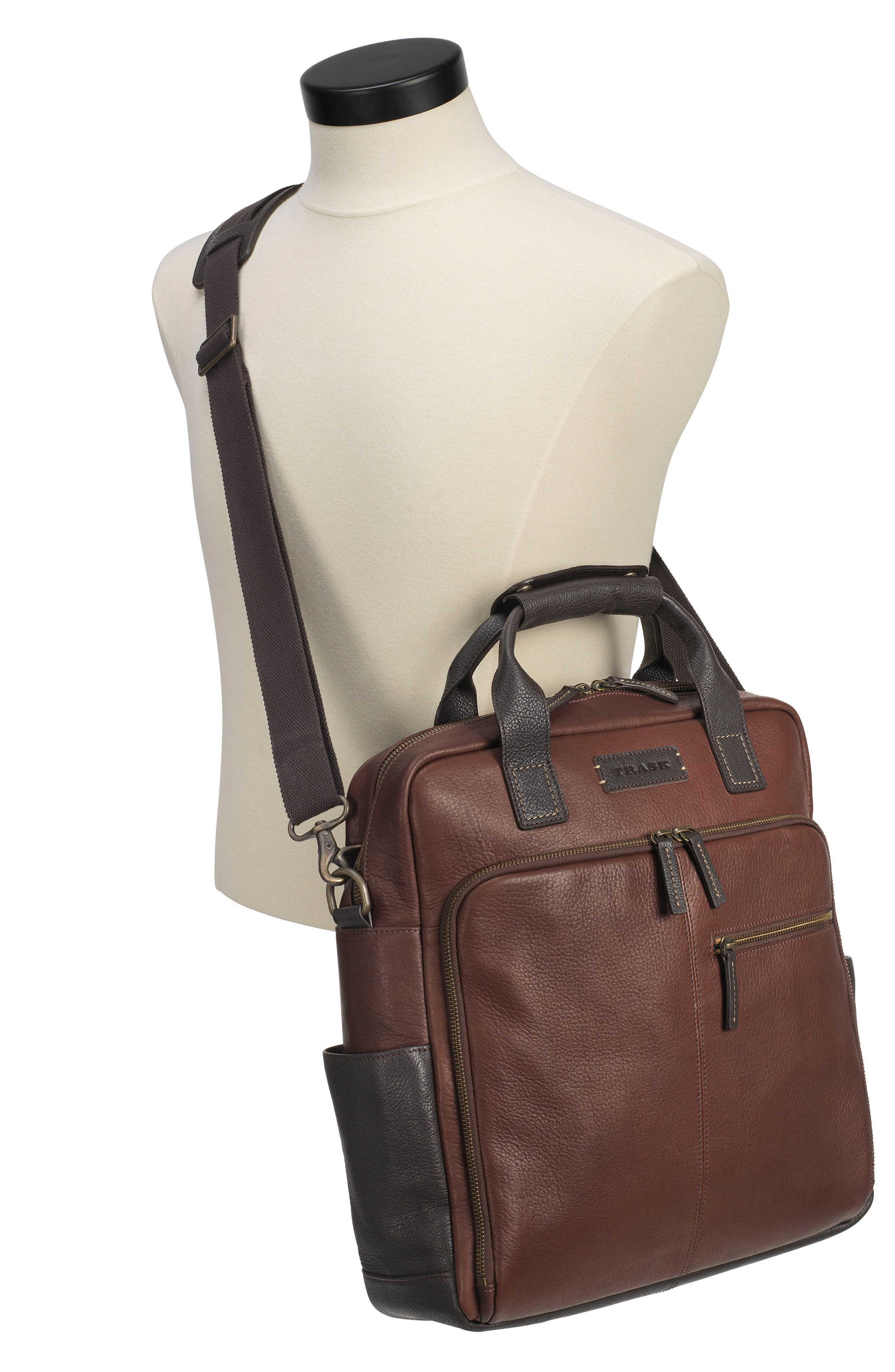 TRASK, Jackson Field Tote Bag, Alternate thumbnail 2, color, BROWN HORWEEN AMERICAN BISON