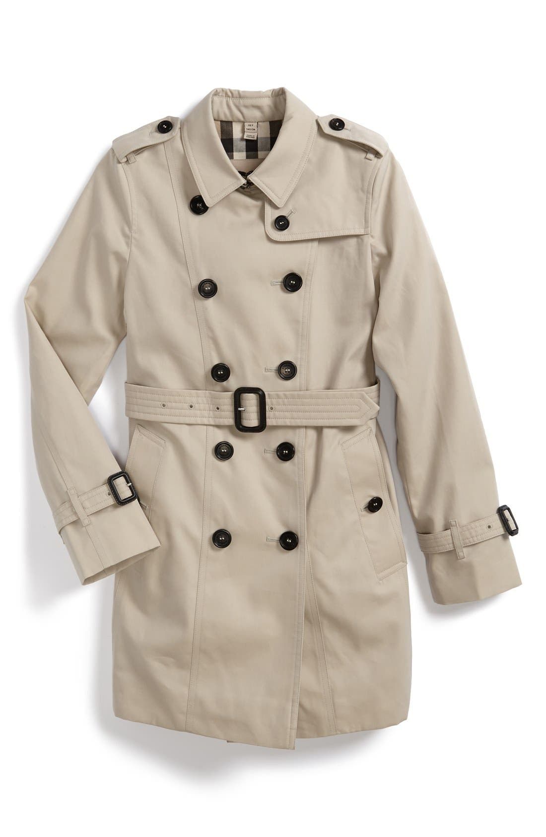 BURBERRY, 'Sandringham' Double Breasted Trench Coat, Main thumbnail 1, color, 250