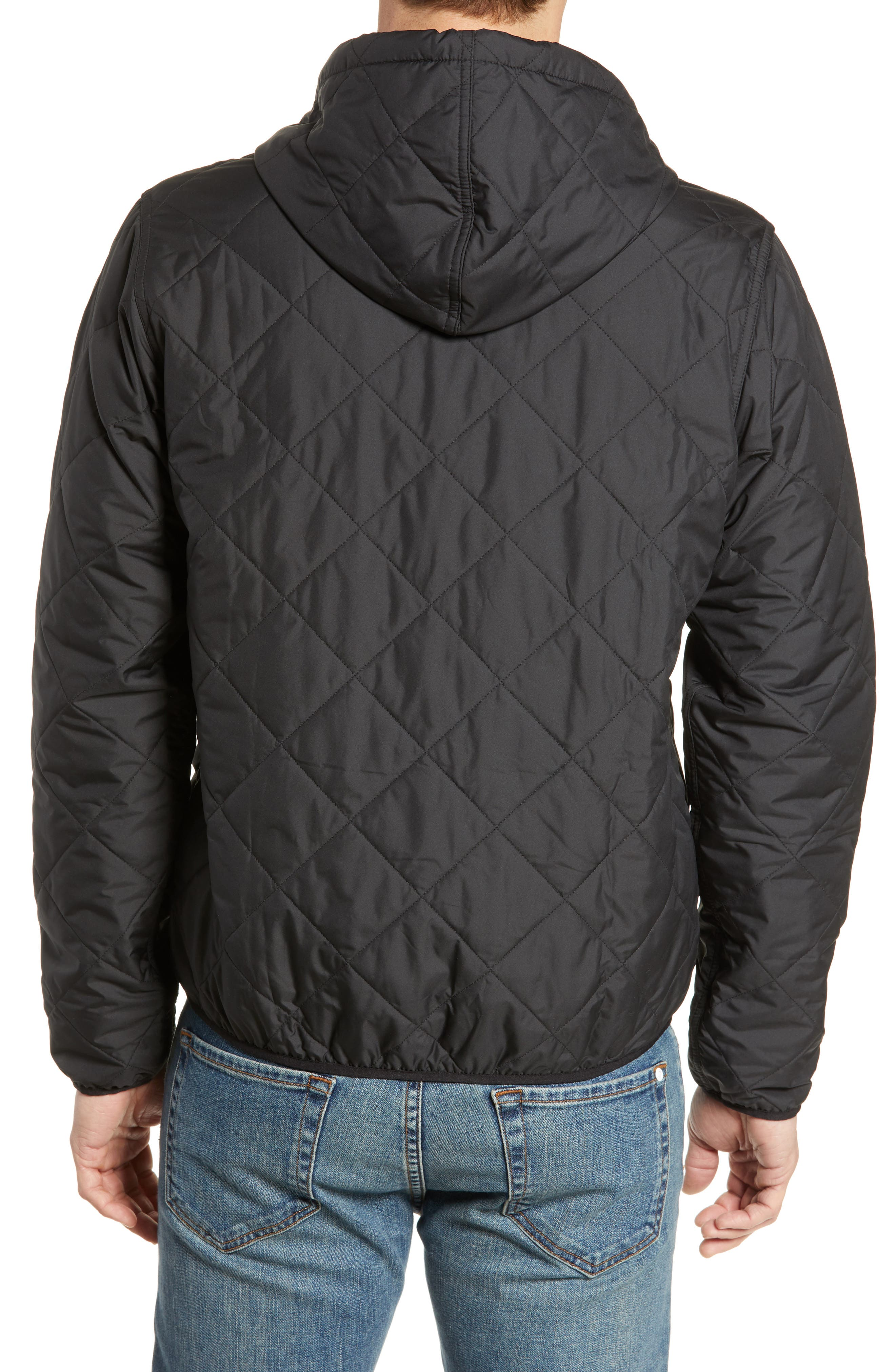 PATAGONIA, Diamond Quilt Ripstop Hooded Jacket, Alternate thumbnail 2, color, 001