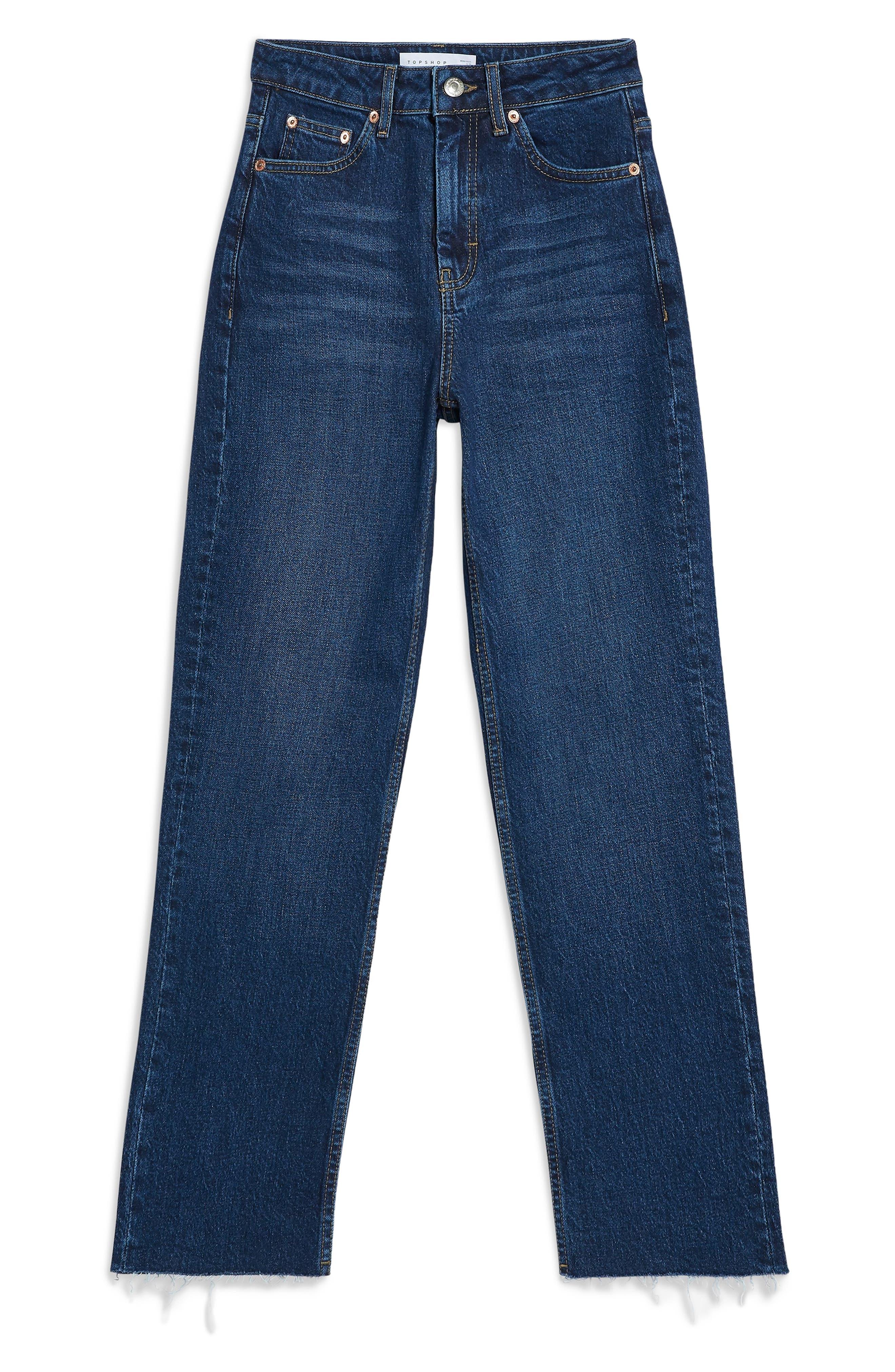 TOPSHOP, Raw Hem Straight Leg Jeans, Alternate thumbnail 4, color, INDIGO