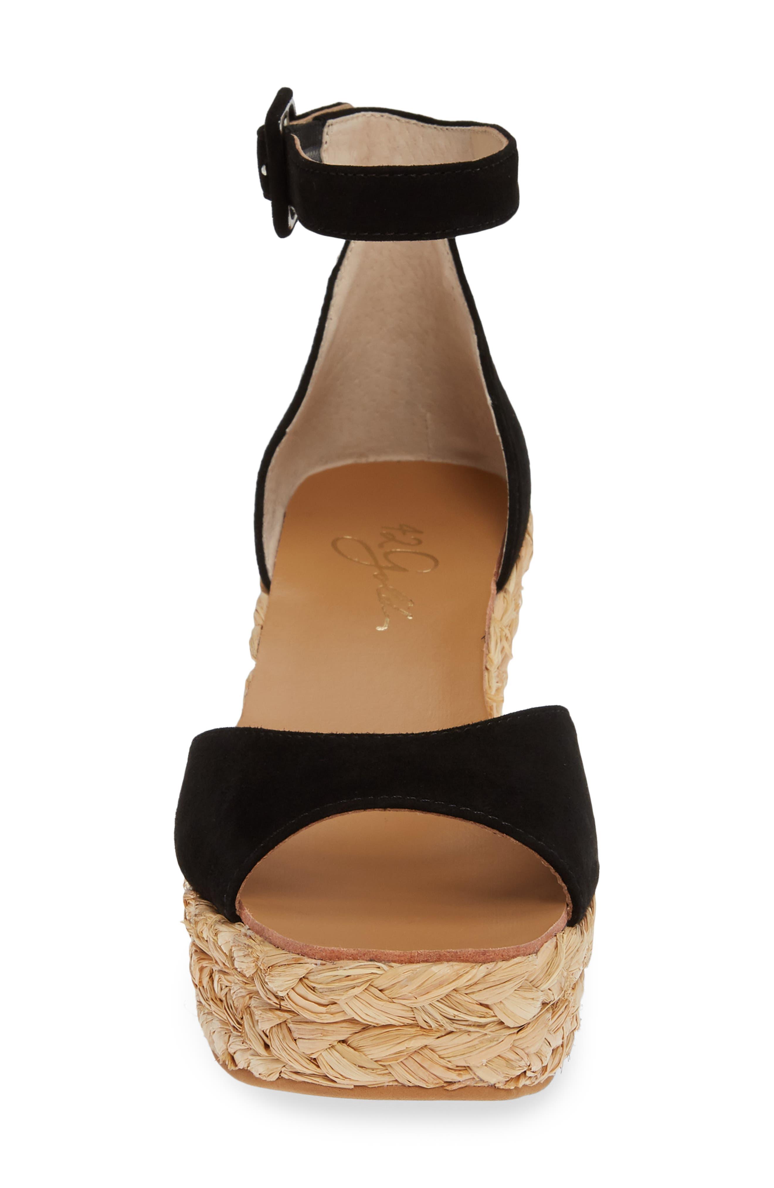 42 GOLD, Mindie Platform Wedge Sandal, Alternate thumbnail 4, color, BLACK SUEDE