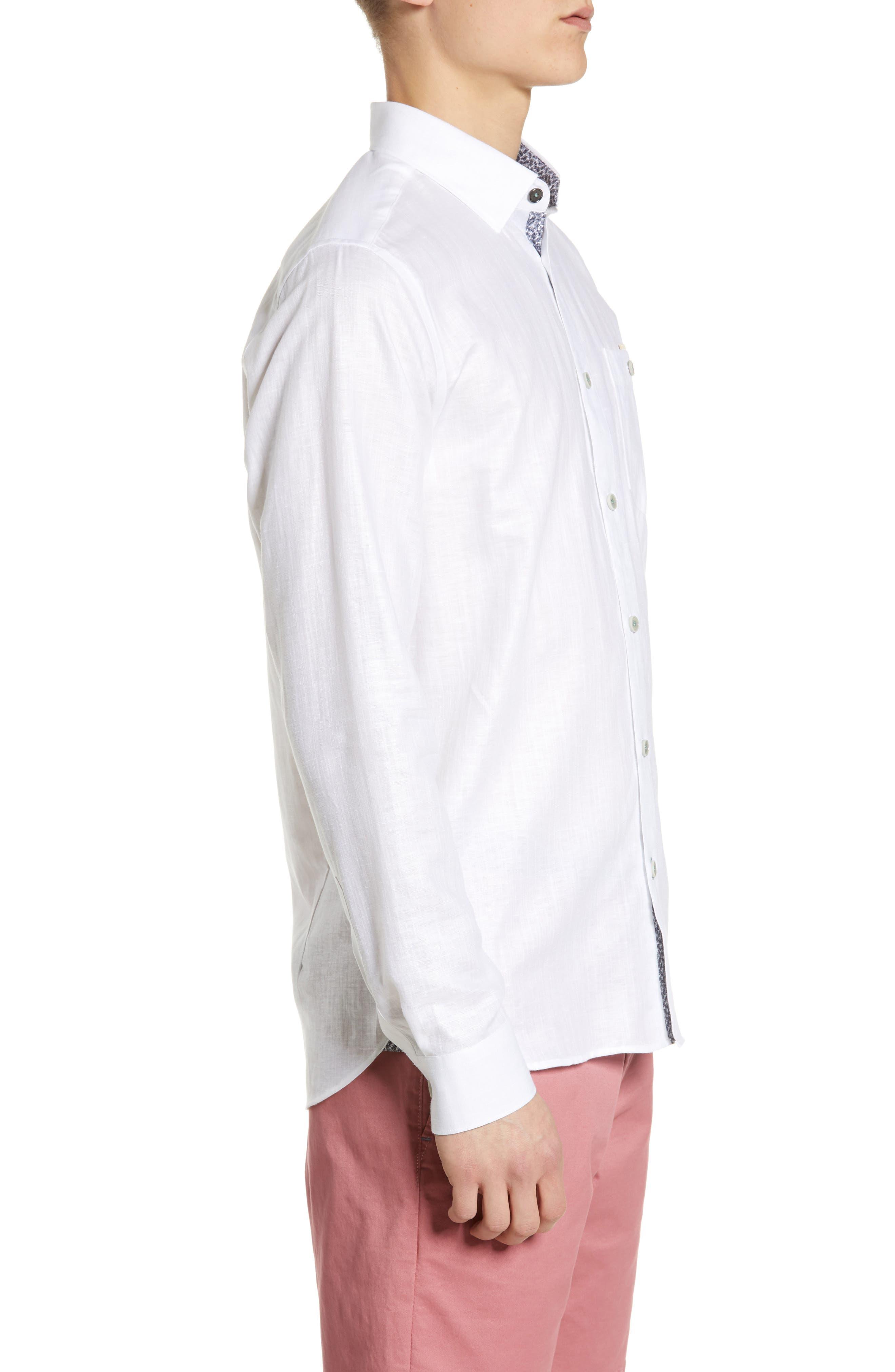 TED BAKER LONDON, Emuu Slim Fit Linen Shirt, Alternate thumbnail 3, color, WHITE