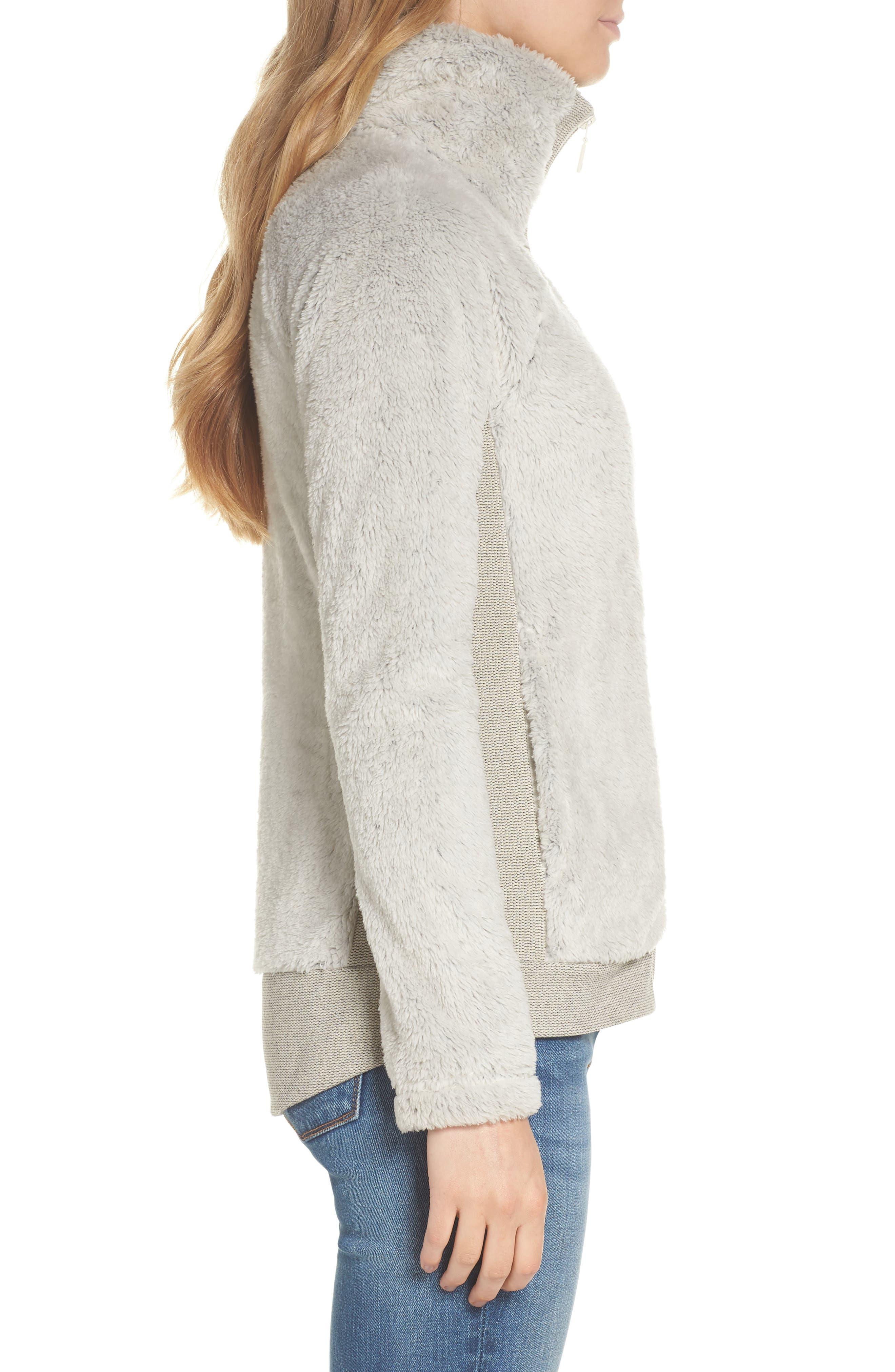 THE NORTH FACE, Furry Fleece Jacket, Alternate thumbnail 4, color, VINTAGE WHITE