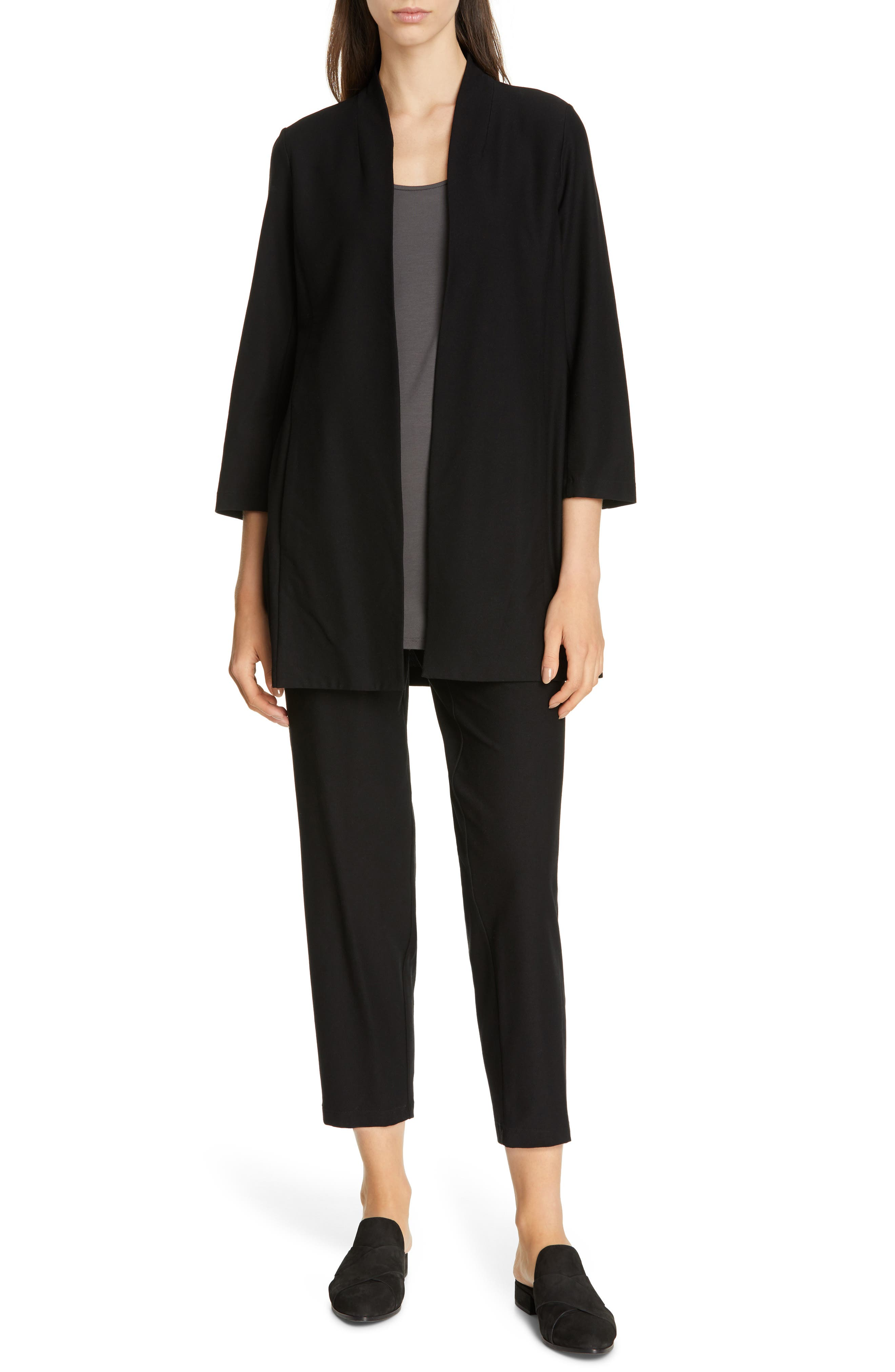 EILEEN FISHER, Tapered Ankle Pants, Alternate thumbnail 8, color, BLACK