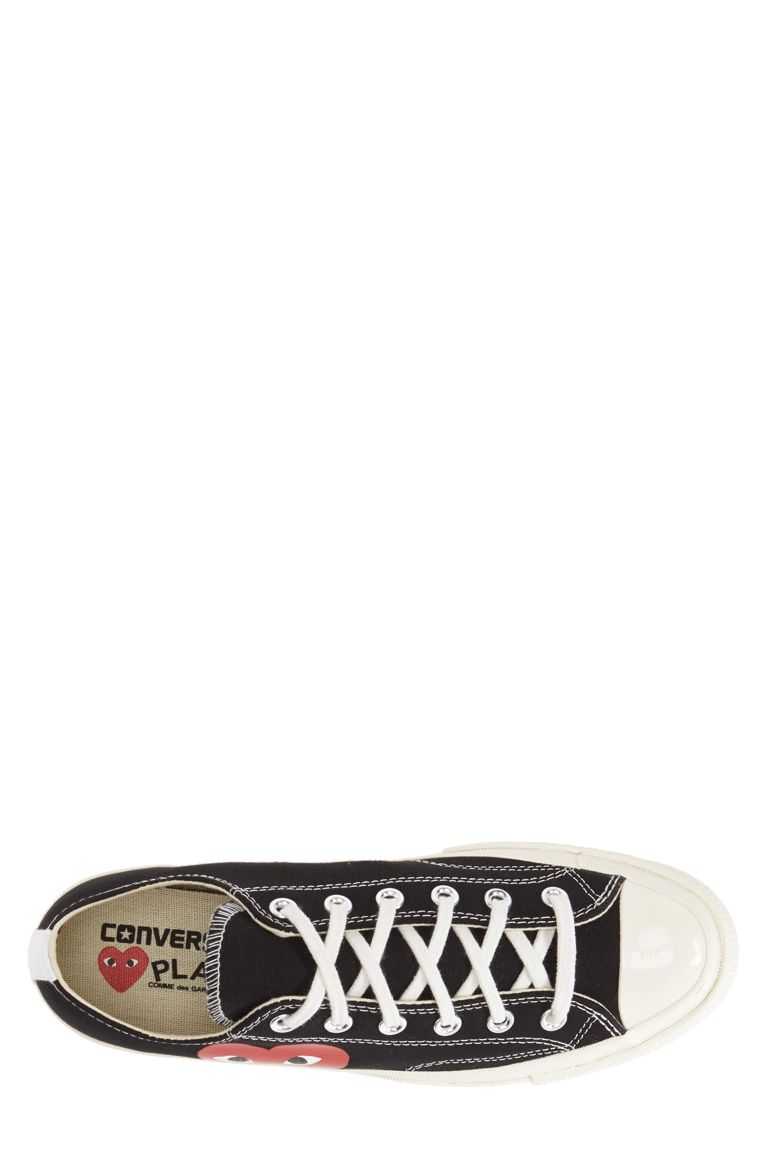 COMME DES GARÇONS PLAY, x Converse Chuck Taylor<sup>®</sup> Hidden Heart Low Top Sneaker, Alternate thumbnail 2, color, BLACK