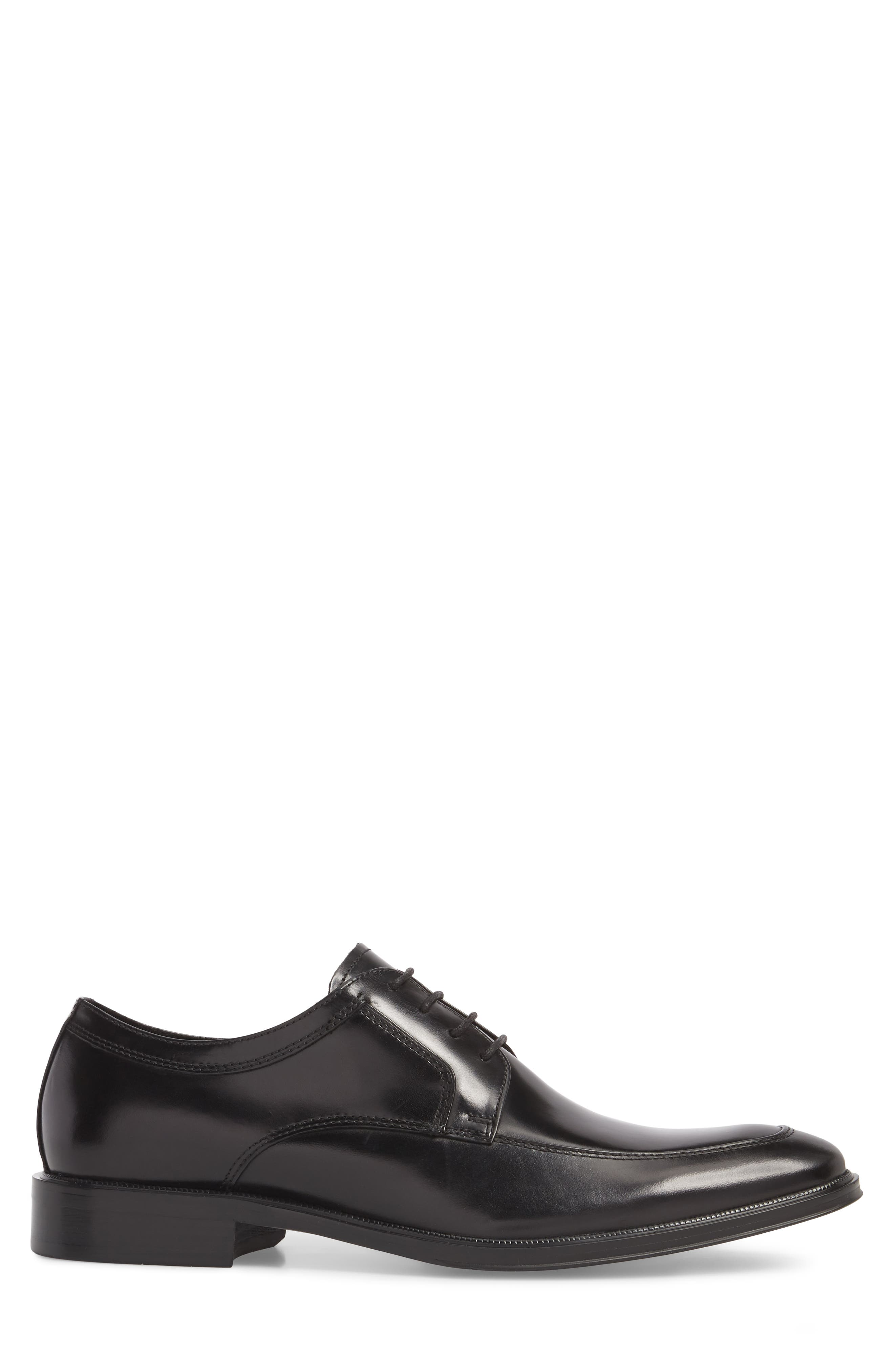 KENNETH COLE NEW YORK, Tully Apron Toe Derby, Alternate thumbnail 3, color, BLACK LEATHER