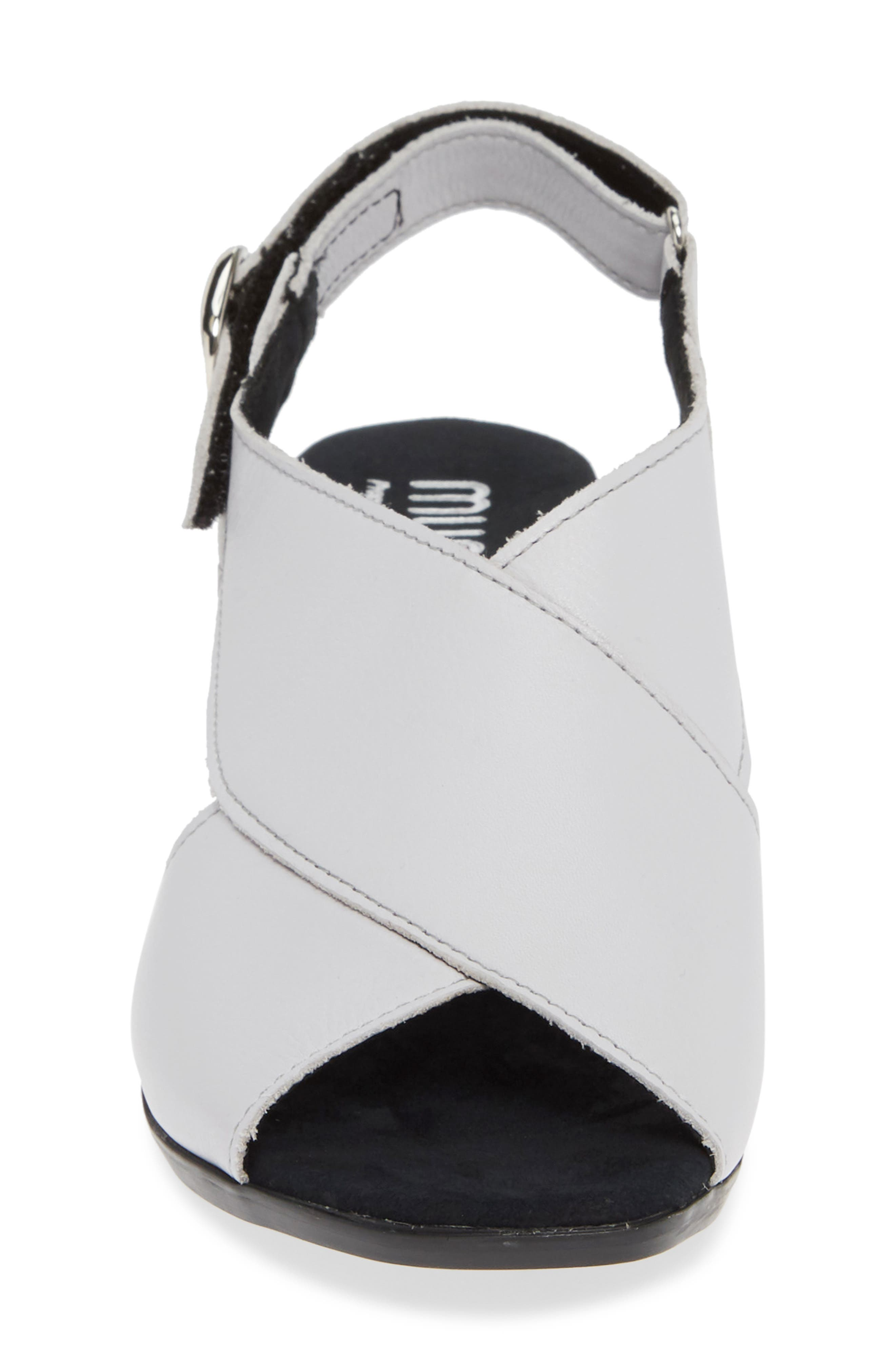 MUNRO, Laine Block Heel Sandal, Alternate thumbnail 4, color, WHITE LEATHER