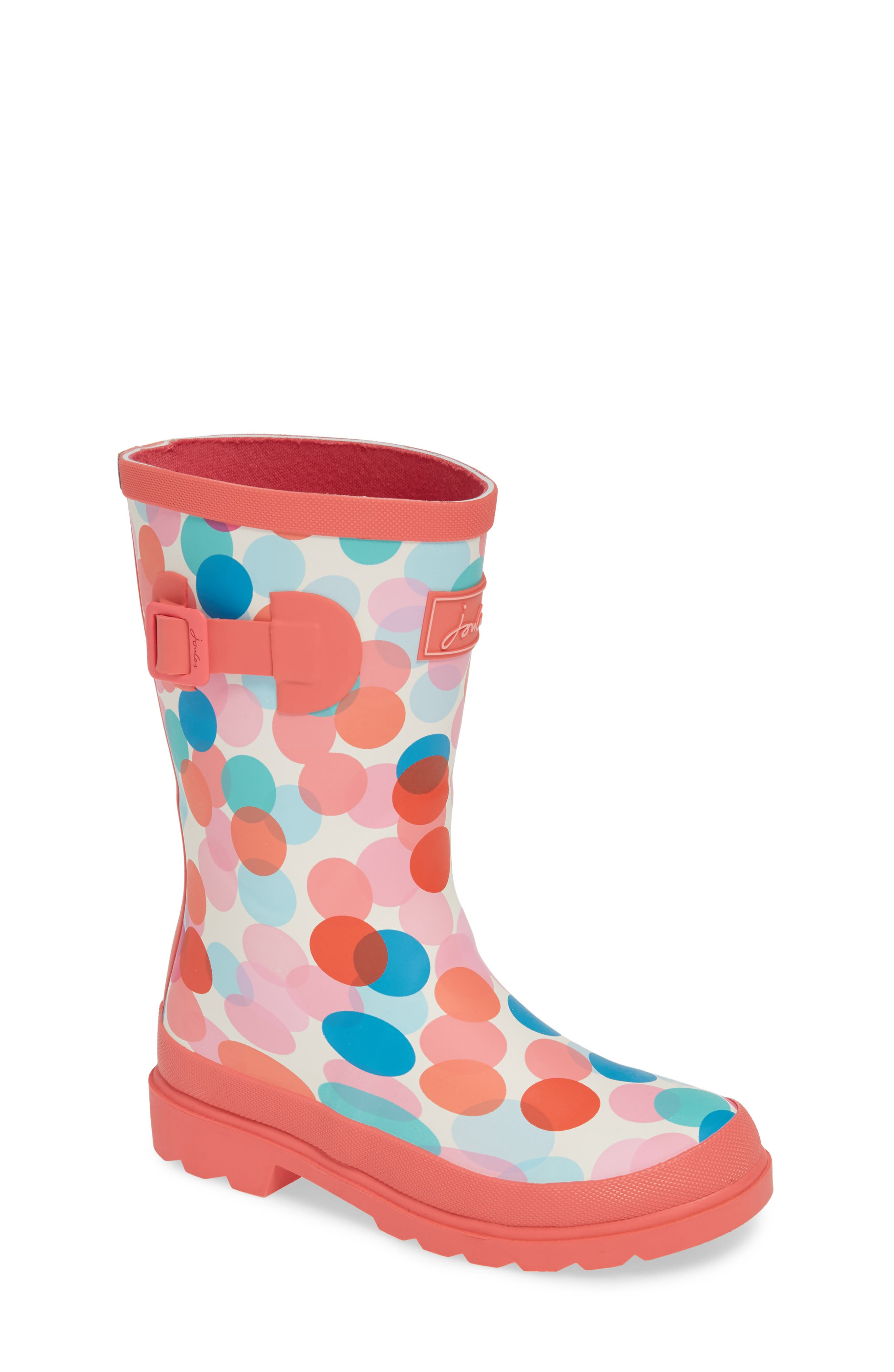 JOULES, Mid Height Print Welly Waterproof Rain Boot, Main thumbnail 1, color, CREAM FAIRY DITSY