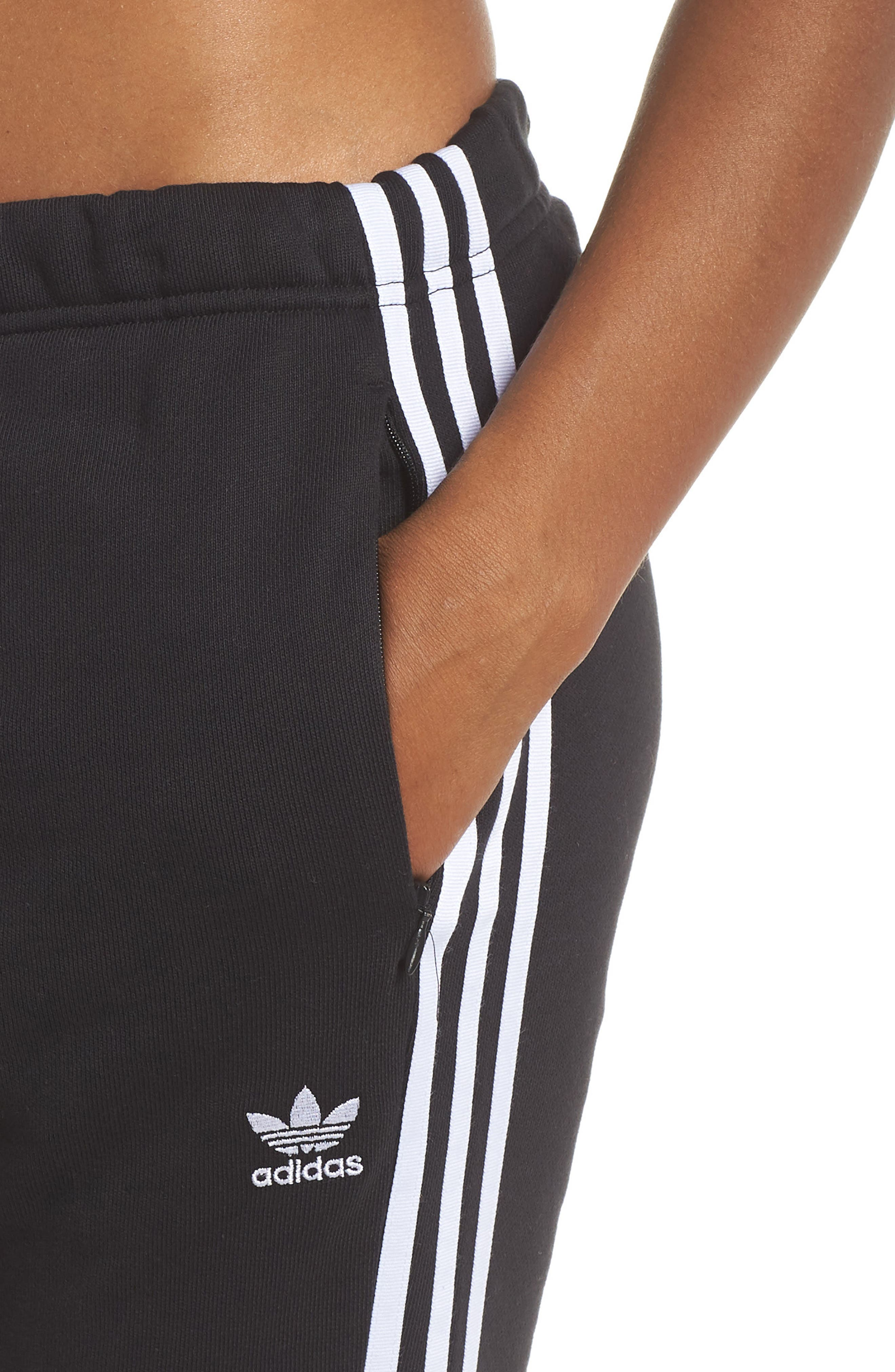 ADIDAS ORIGINALS, Cuffed Track Pants, Alternate thumbnail 5, color, BLACK