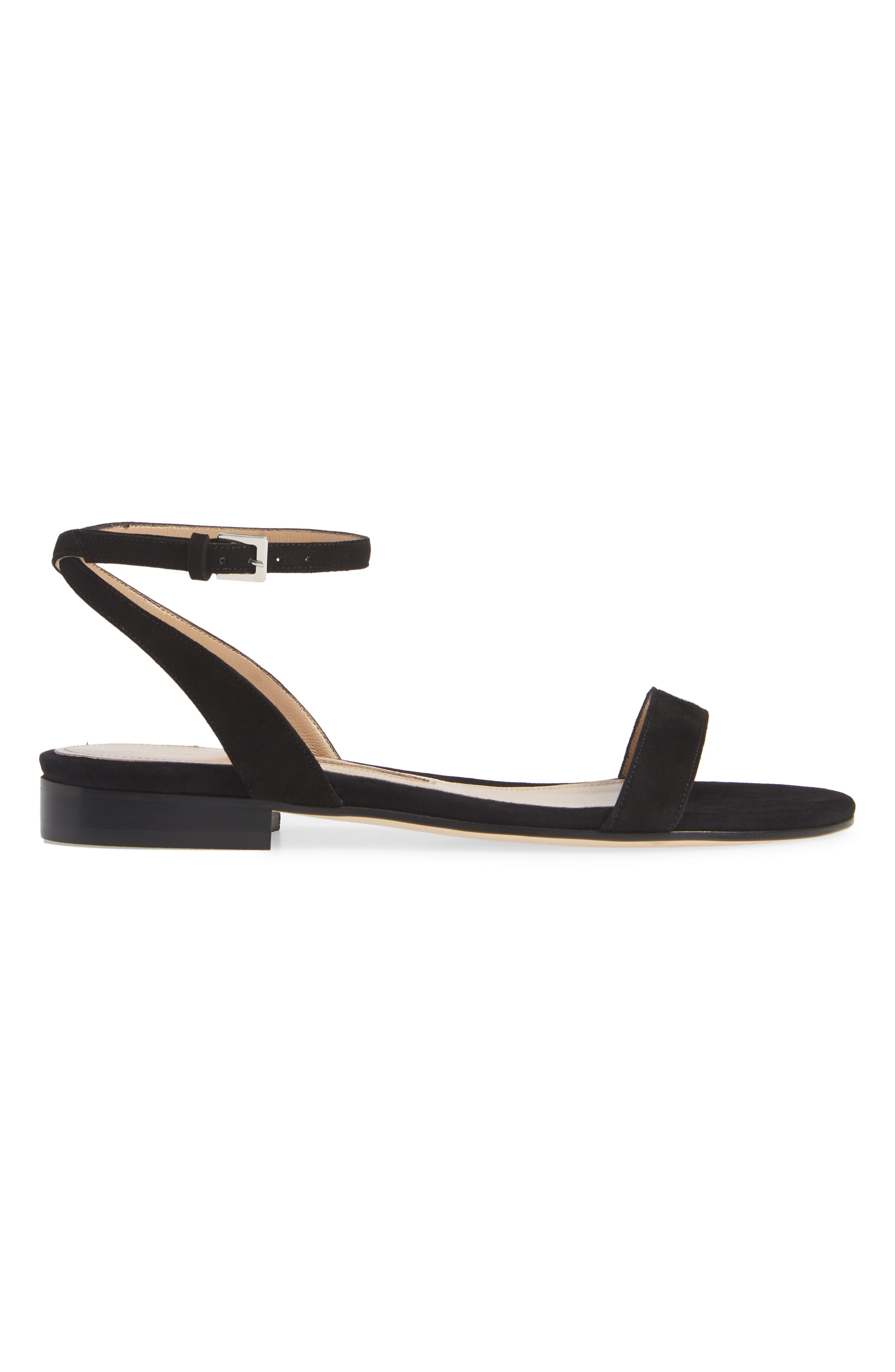 EMME PARSONS, One Ankle Strap Flat Sandal, Alternate thumbnail 3, color, BLACK