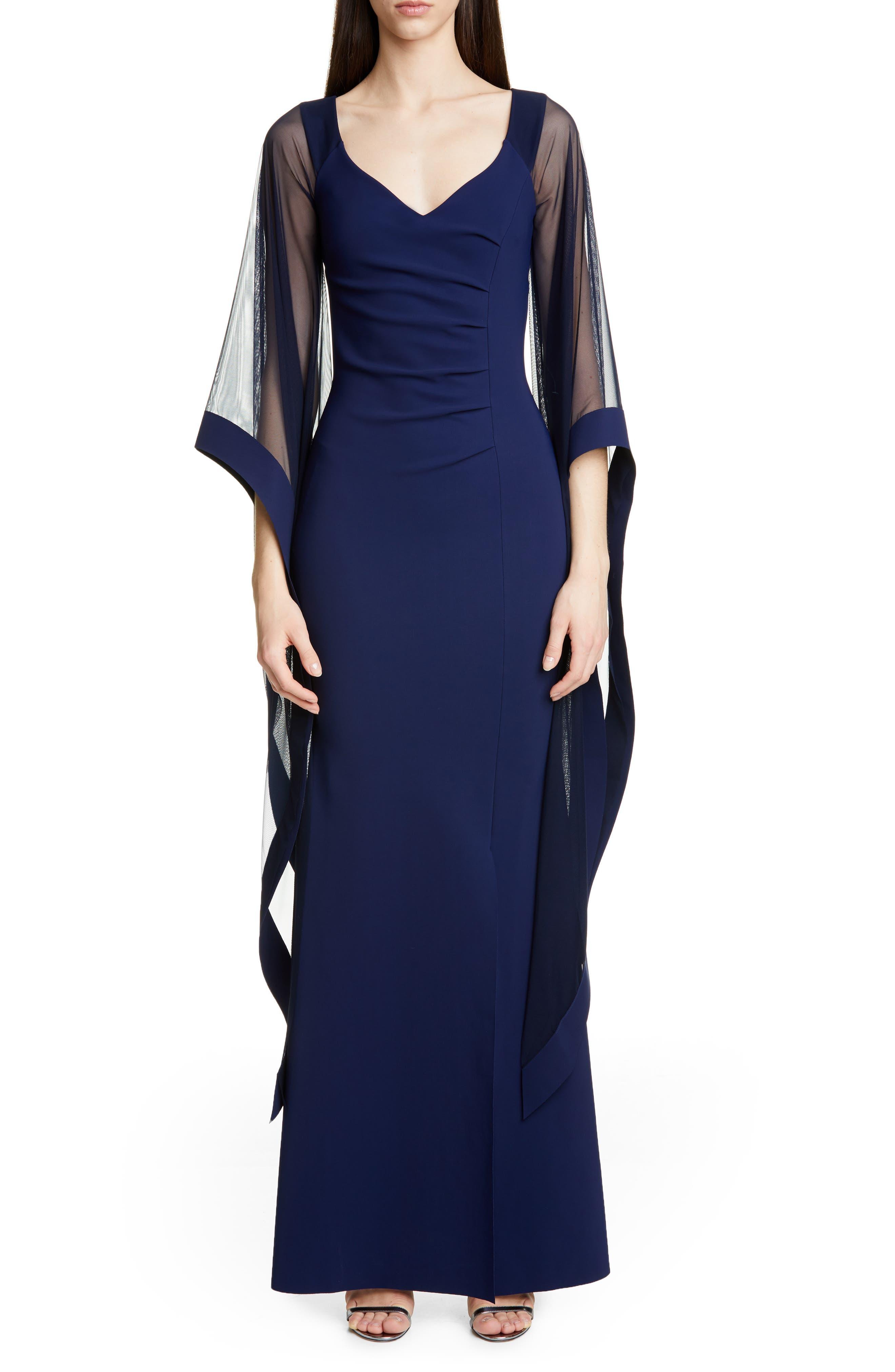 Chiara Boni La Petite Robe Melitea Draped Sleeve Evening Gown, 50 IT - Blue