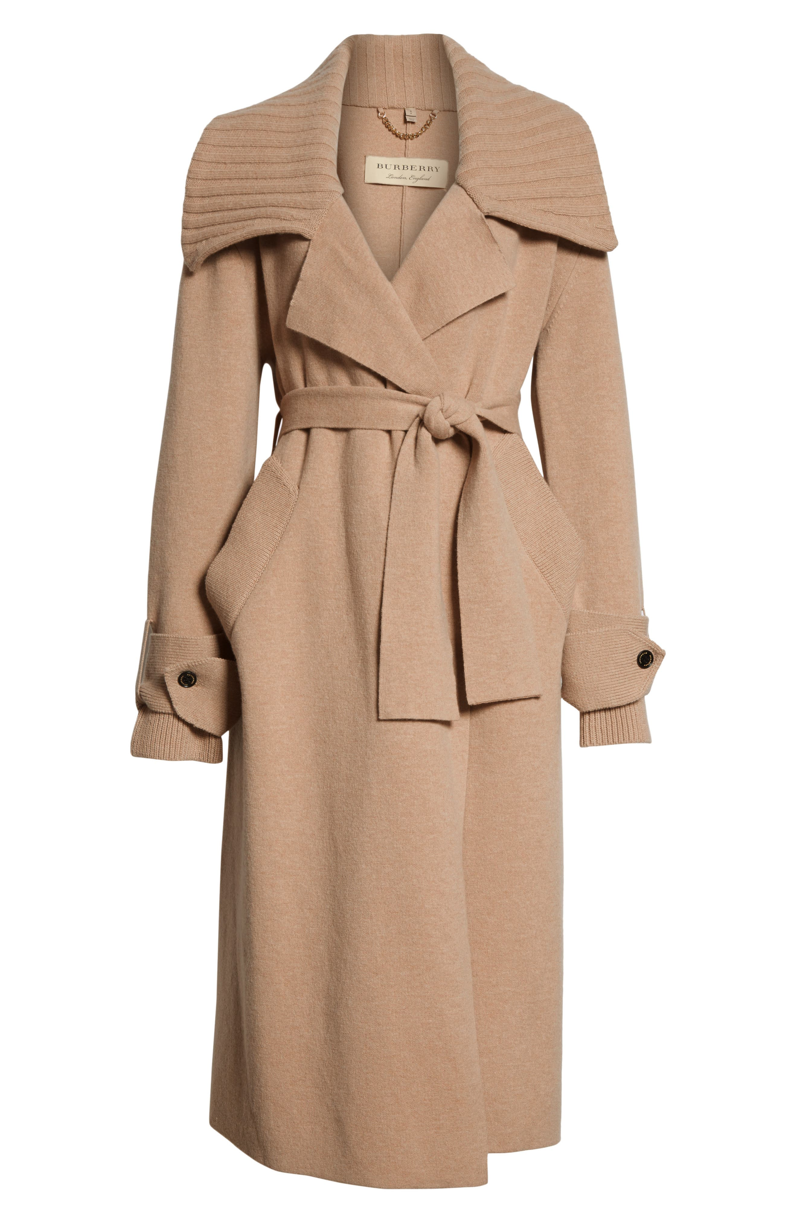 BURBERRY, Piota Wool Blend Knit Trench Coat, Alternate thumbnail 6, color, CAMEL