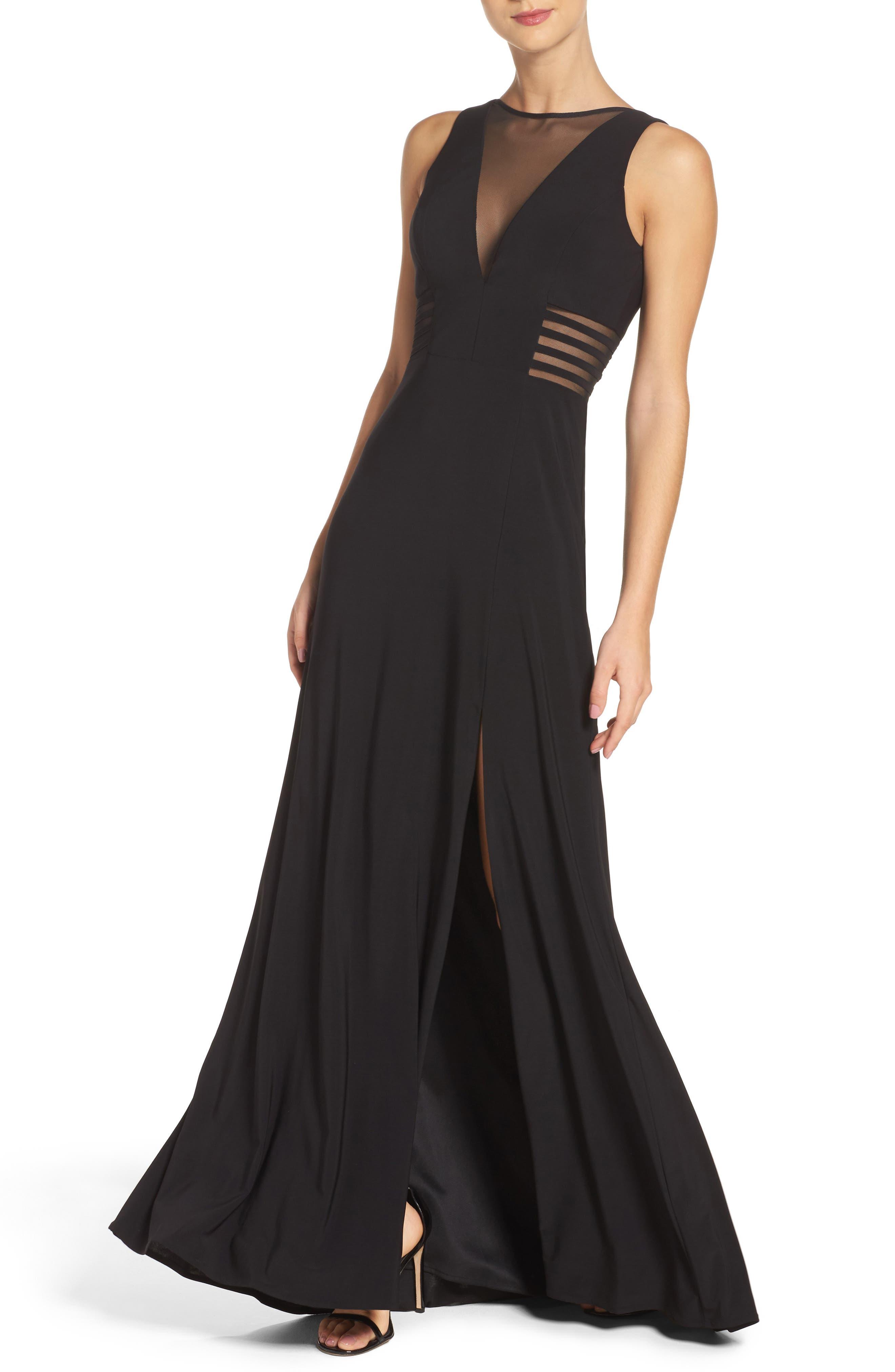 MORGAN & CO., Illusion Gown, Alternate thumbnail 5, color, BLACK