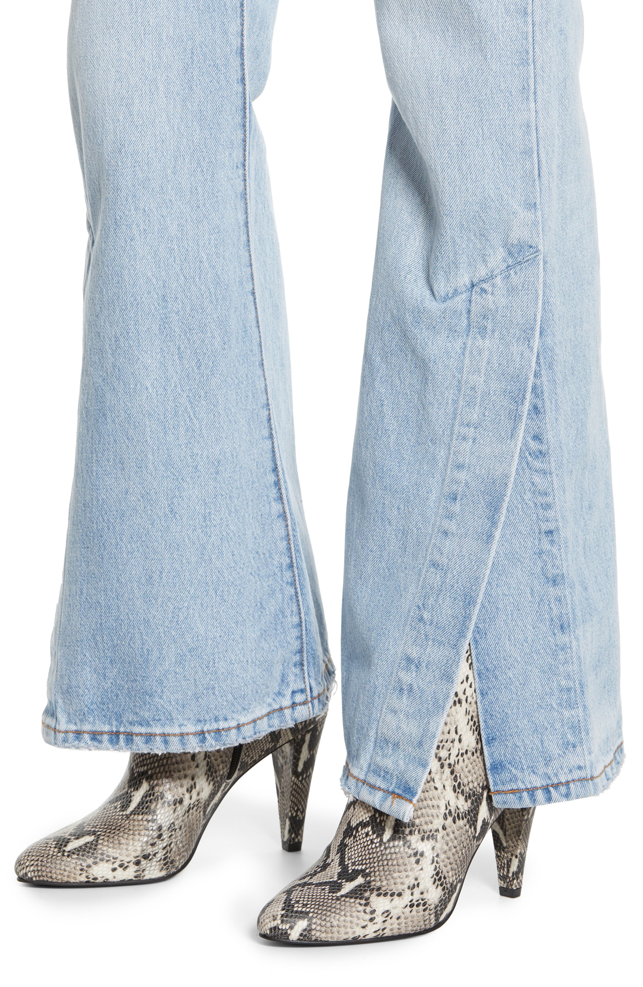 LEVI'S<SUP>®</SUP>, Ribcage Super High Waist Split Flare Jeans, Alternate thumbnail 5, color, DAZED AND CONFUSED