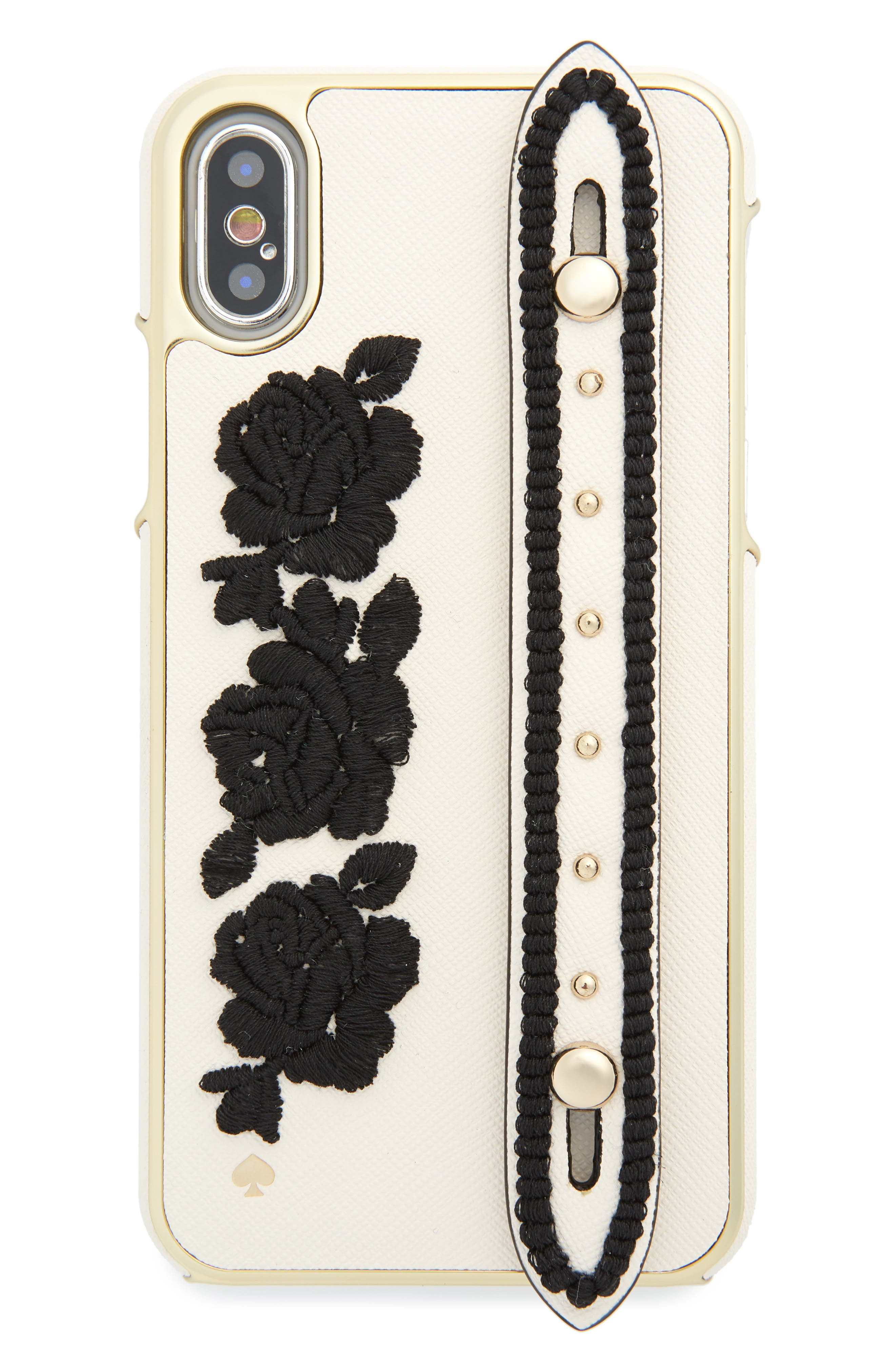 KATE SPADE NEW YORK, embroidered iPhone X case with strap, Main thumbnail 1, color, BLACK MULTI
