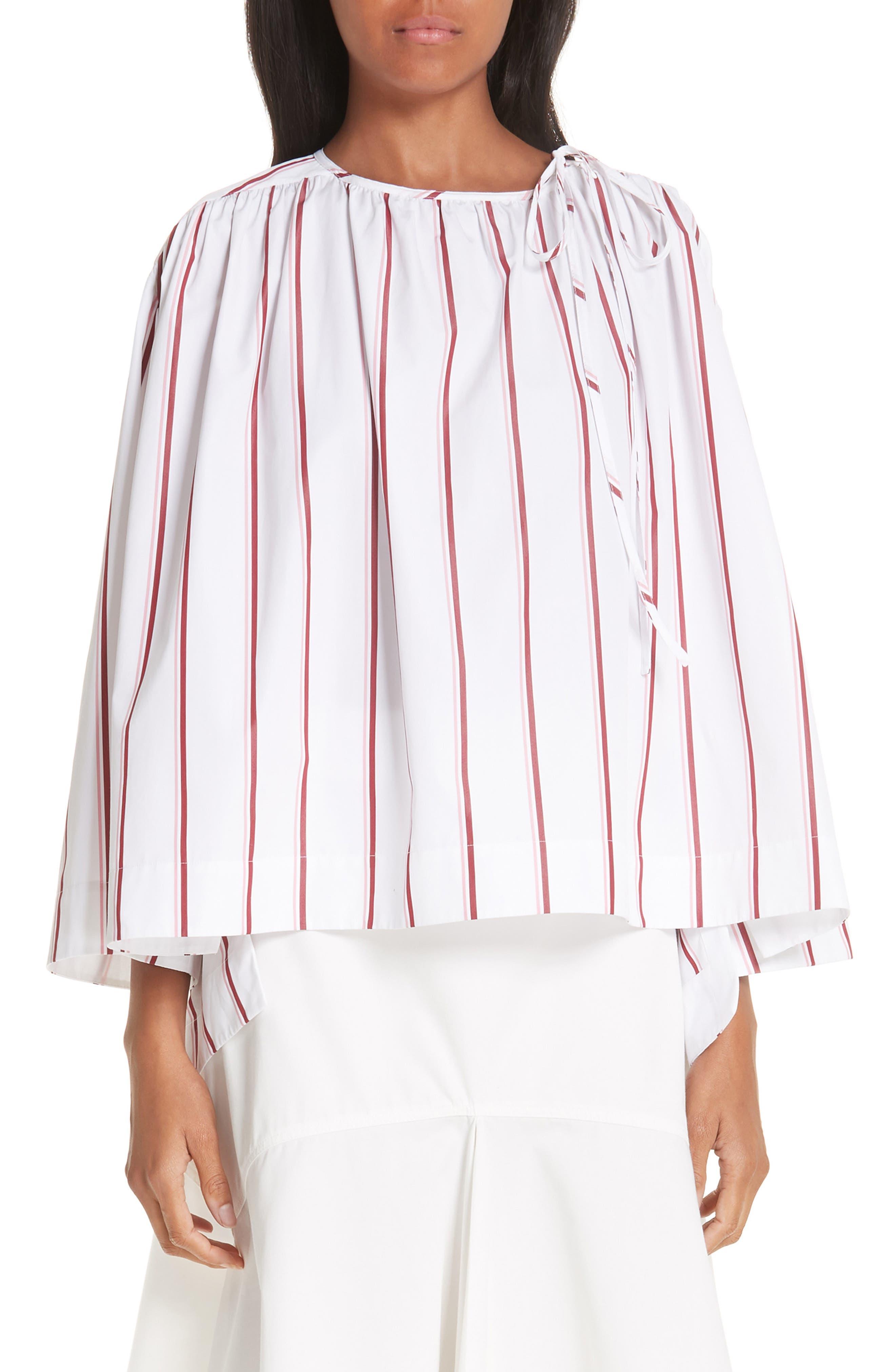 CALVIN KLEIN 205W39NYC Tie Neck Cotton Poplin Blouse, Main, color, OPTIC WHITE CAMEO PINK
