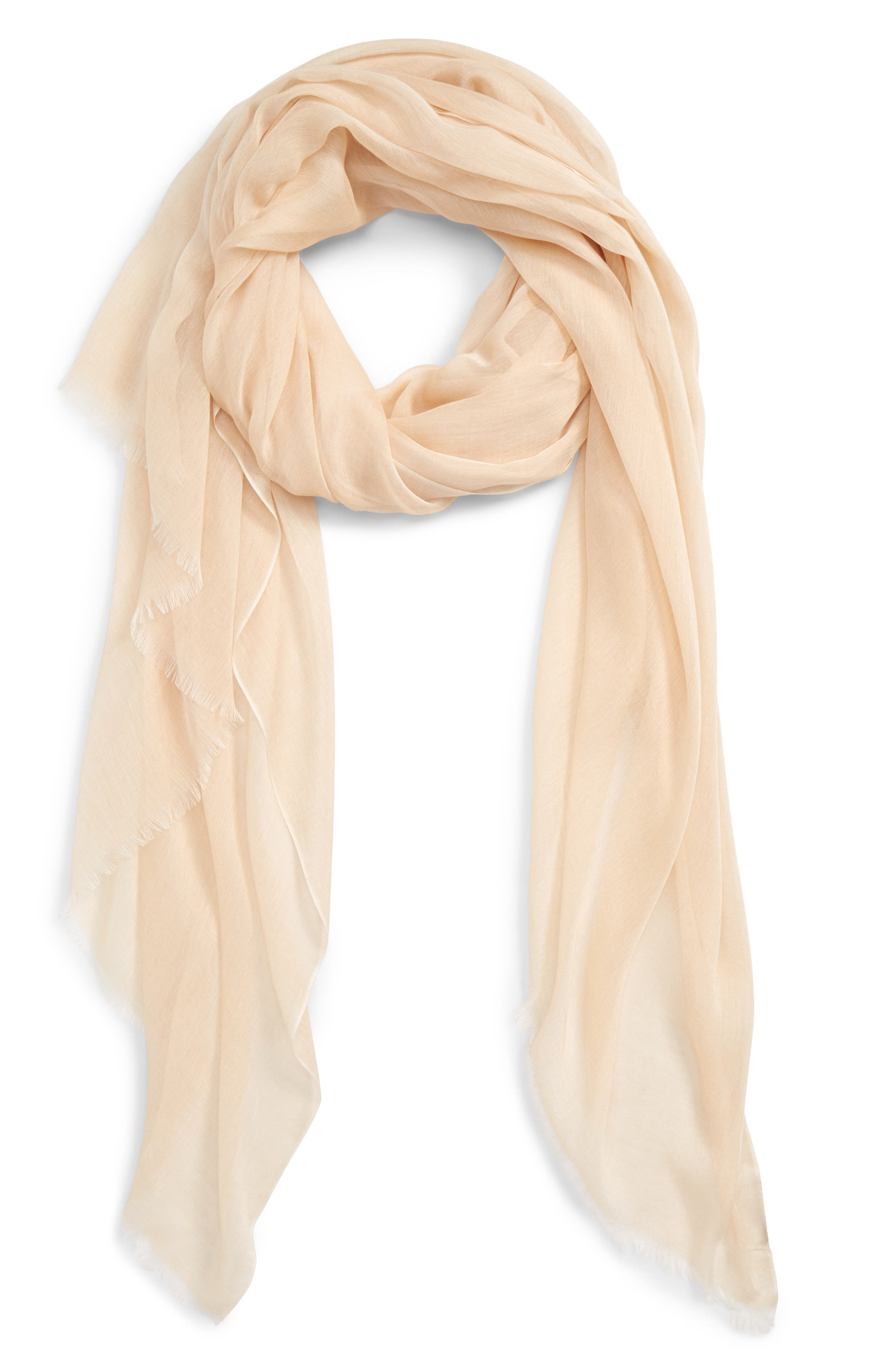 NORDSTROM, Modal Silk Blend Scarf, Alternate thumbnail 2, color, BEIGE BISCUIT
