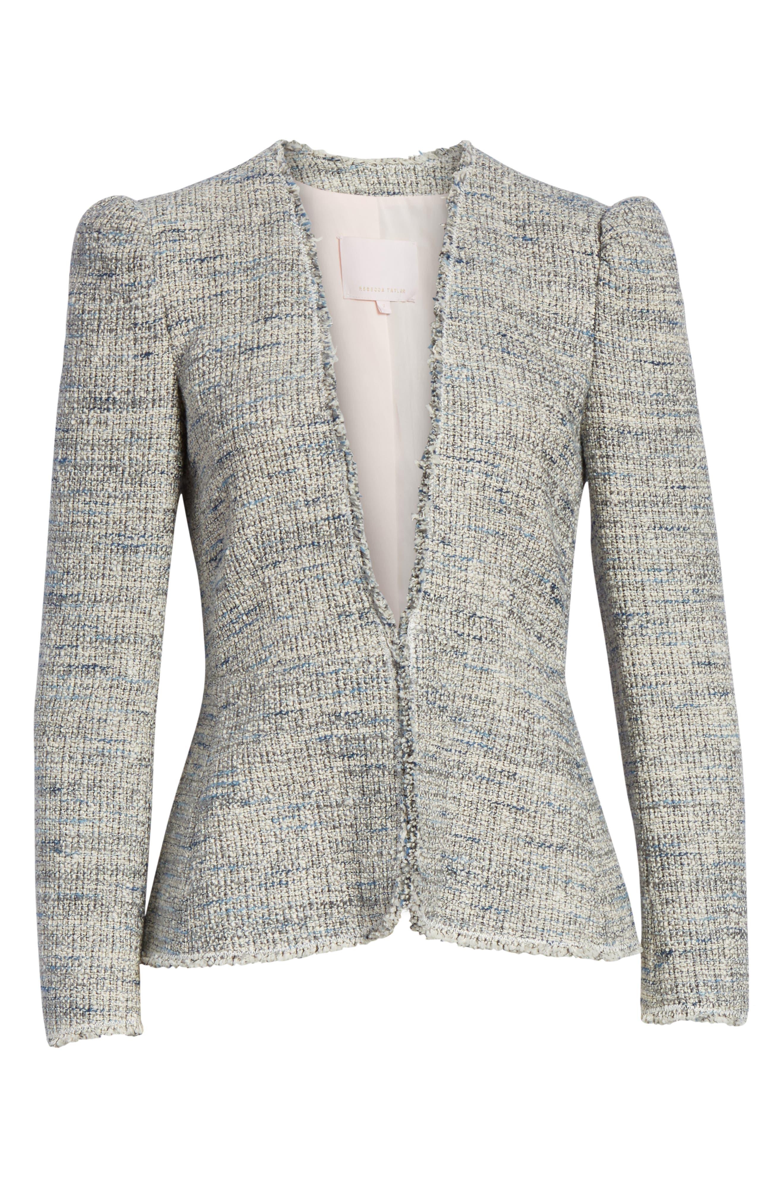 REBECCA TAYLOR, Tweed Peplum Jacket, Alternate thumbnail 6, color, BLUE/ GREY COMBO