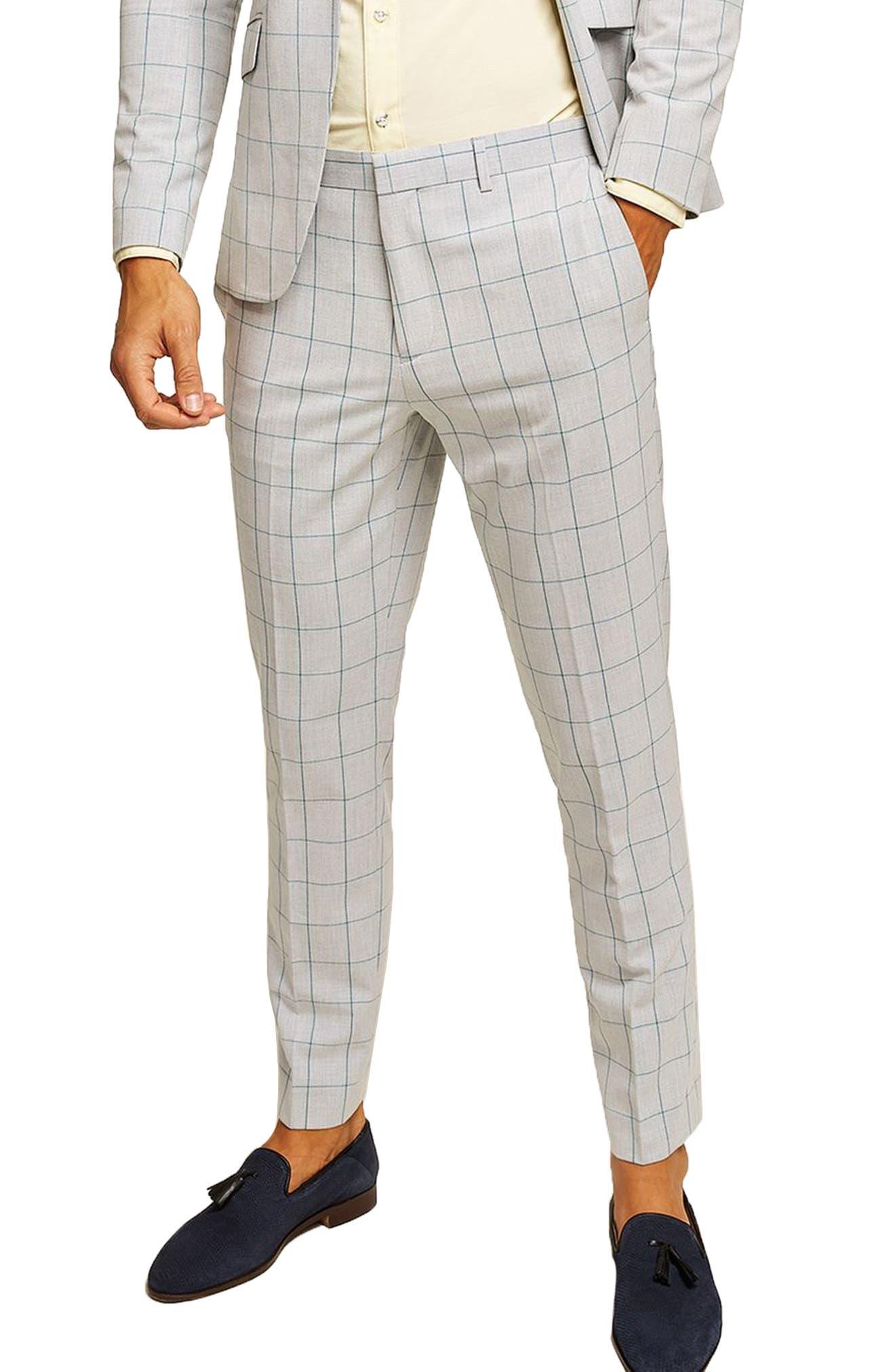 TOPMAN, Muscle Fit Check Suit Trousers, Main thumbnail 1, color, 300