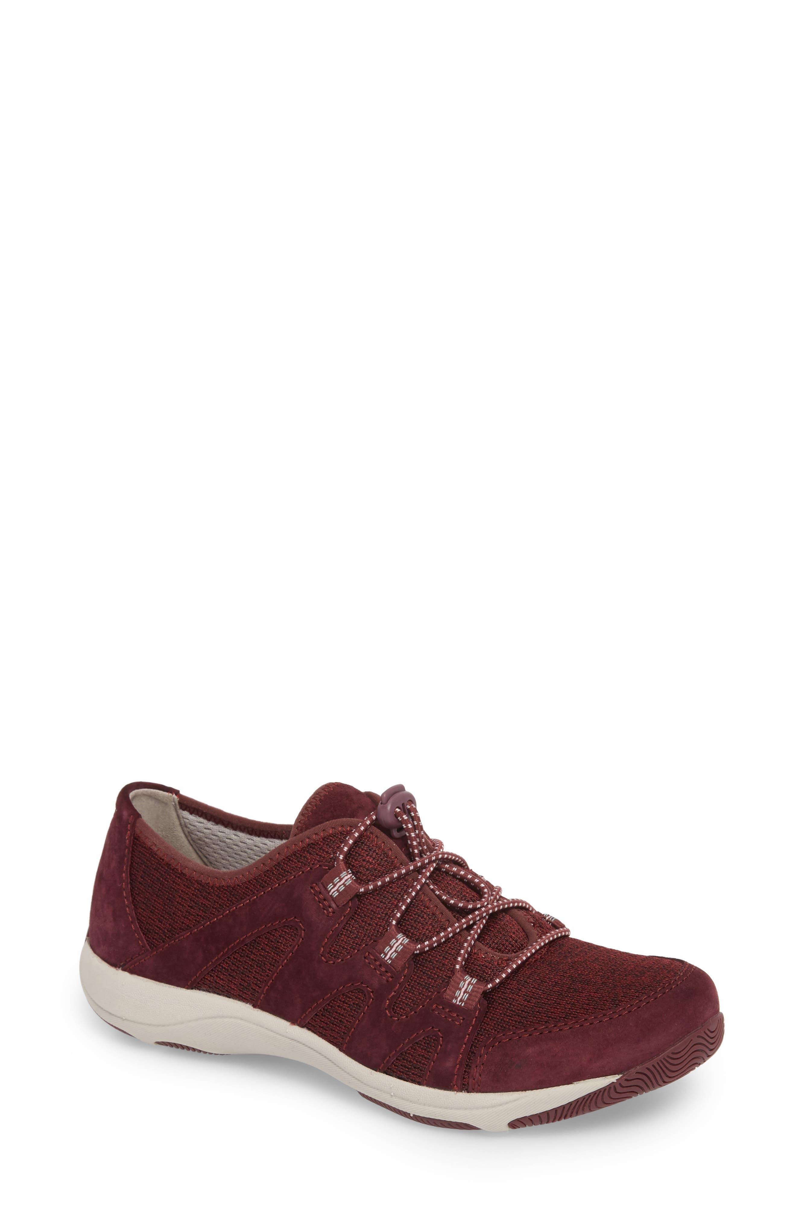 DANSKO, Holland Sneaker, Main thumbnail 1, color, WINE SUEDE
