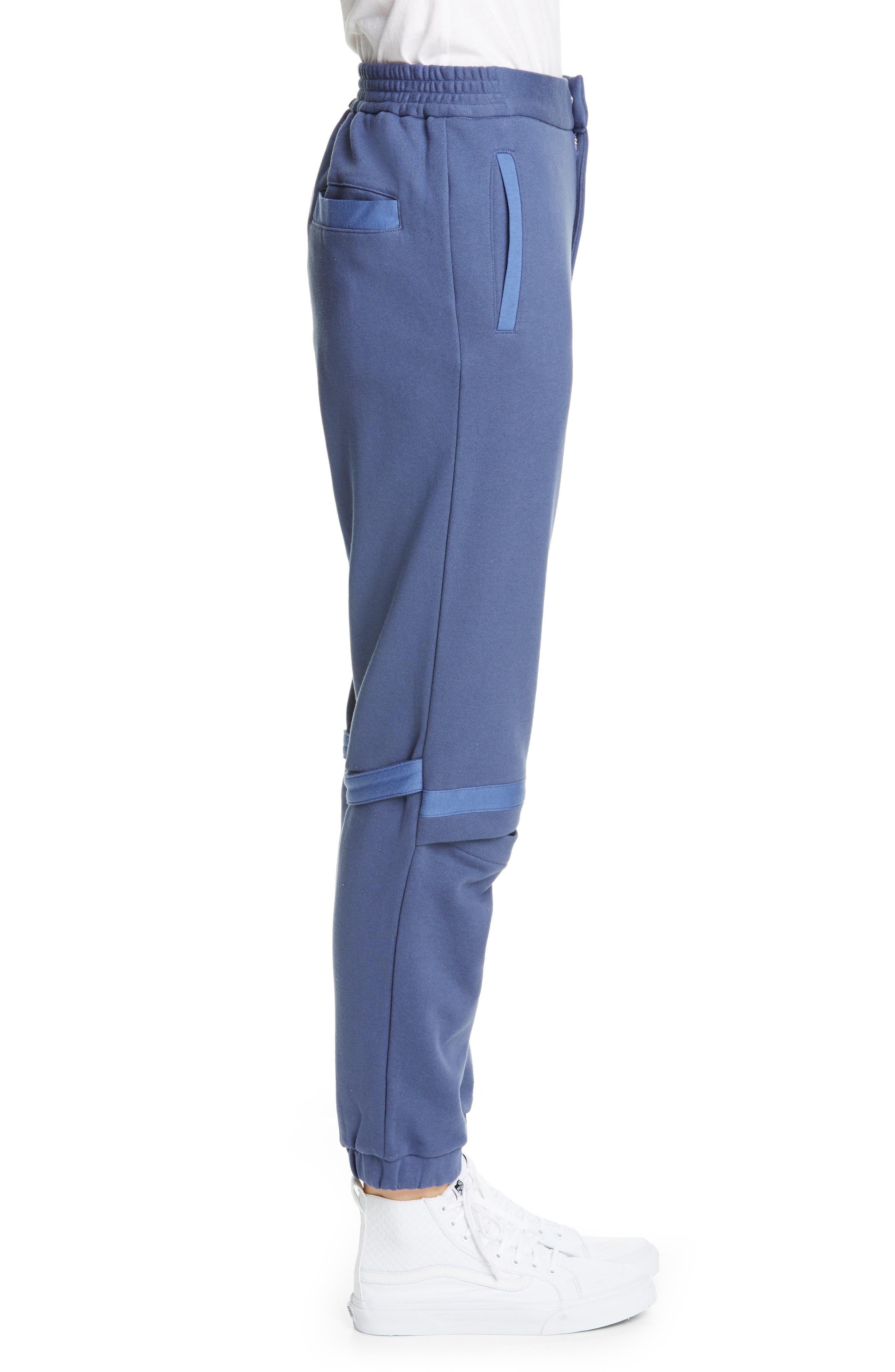 AMBUSH, Slit Knee Sweatpants, Alternate thumbnail 3, color, BLUE