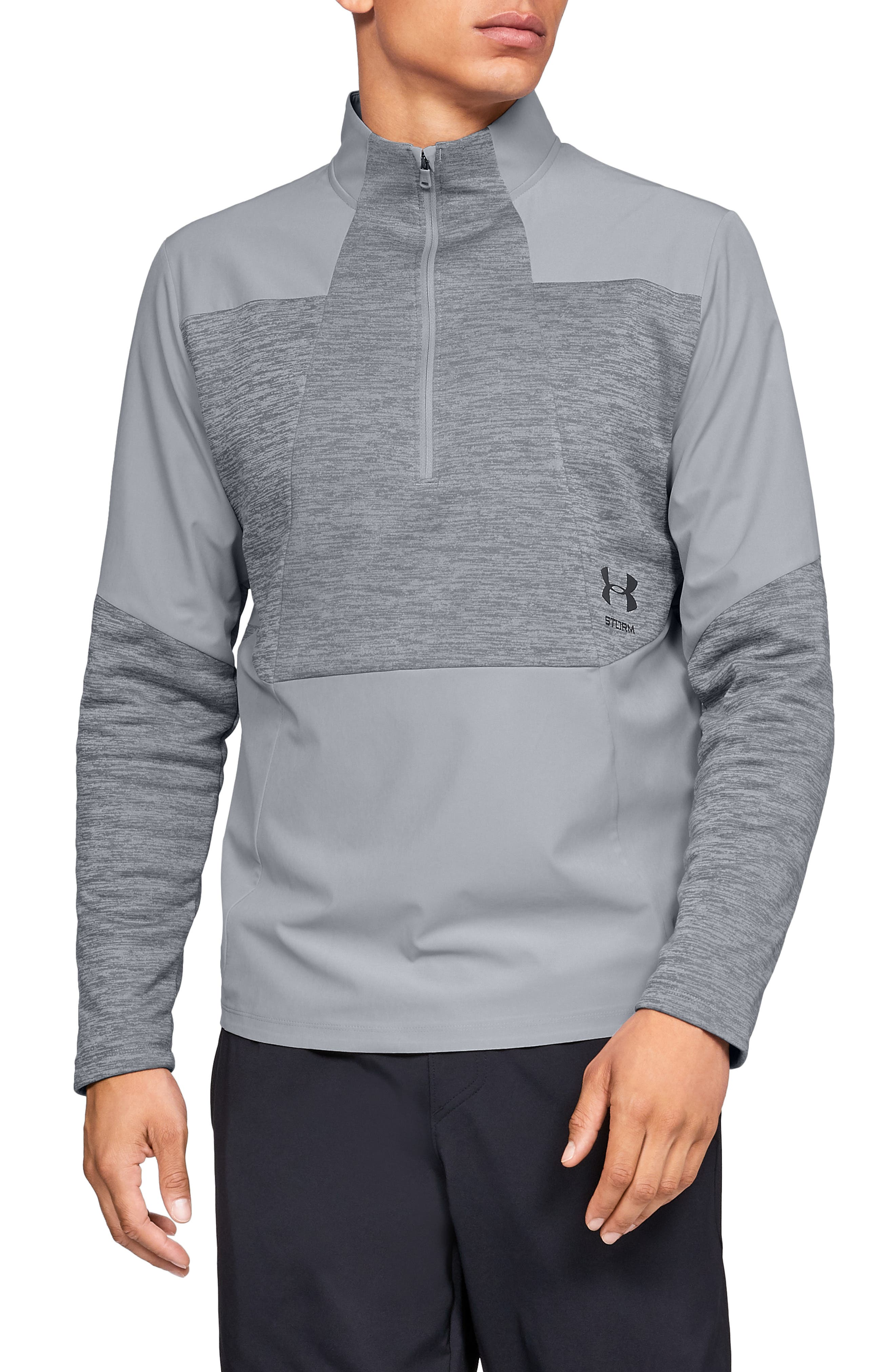 UNDER ARMOUR, Storm Cyclone Water Repellent Quarter Zip Pullover, Main thumbnail 1, color, OVERCAST GREY/ BLACK