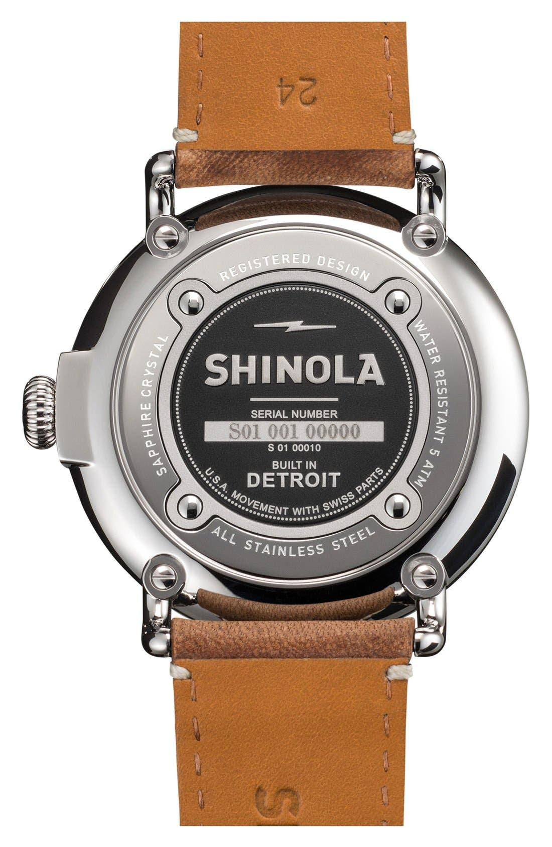 SHINOLA, 'The Runwell' Leather Strap Watch, 47mm, Alternate thumbnail 6, color, BROWN