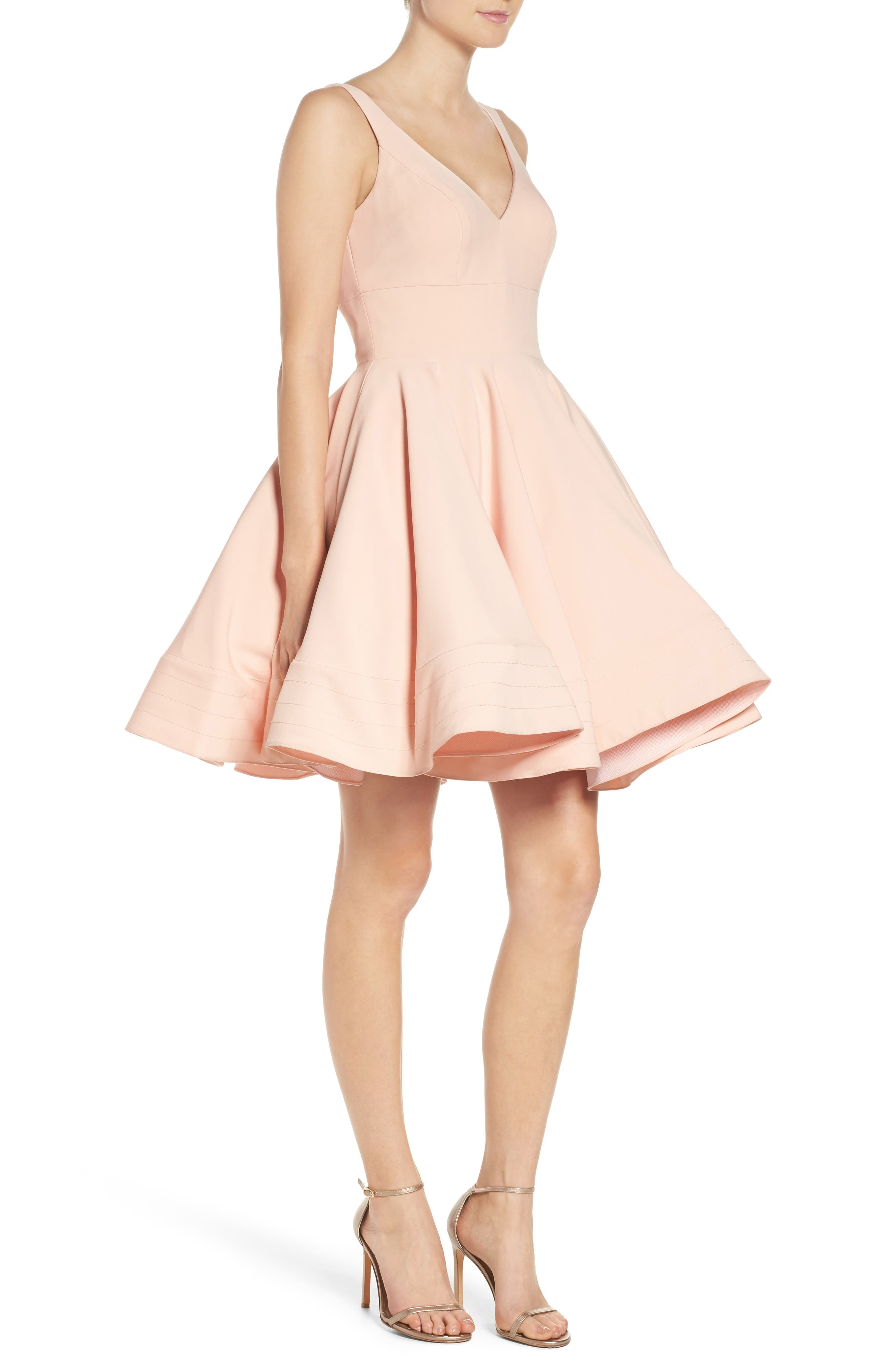 IEENA FOR MAC DUGGAL, Double V-Neck Fit & Flare Party Dress, Alternate thumbnail 4, color, BLUSH