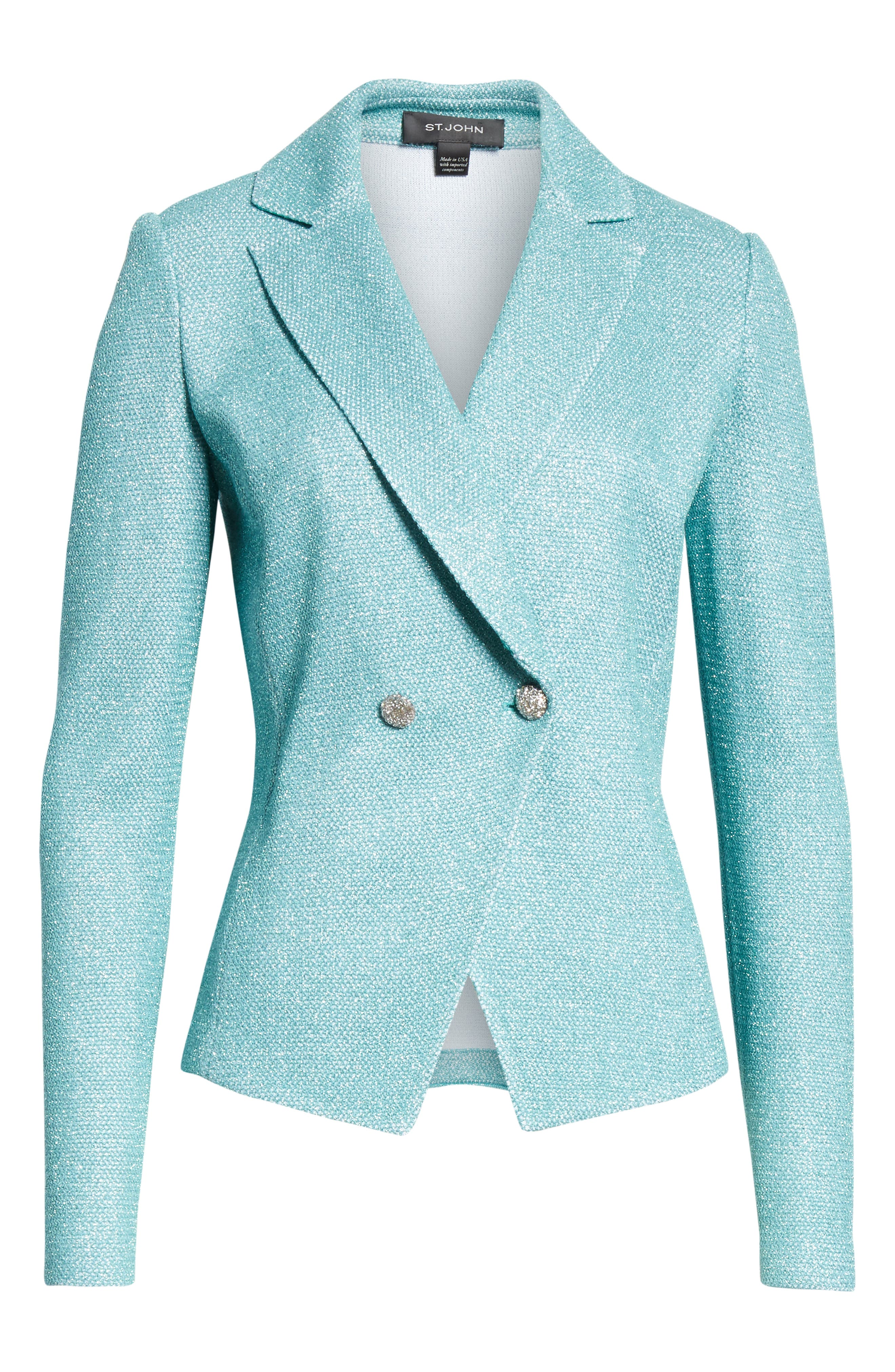 ST. JOHN COLLECTION, Bailey Knit Double Breasted Blazer, Alternate thumbnail 6, color, LAGOON