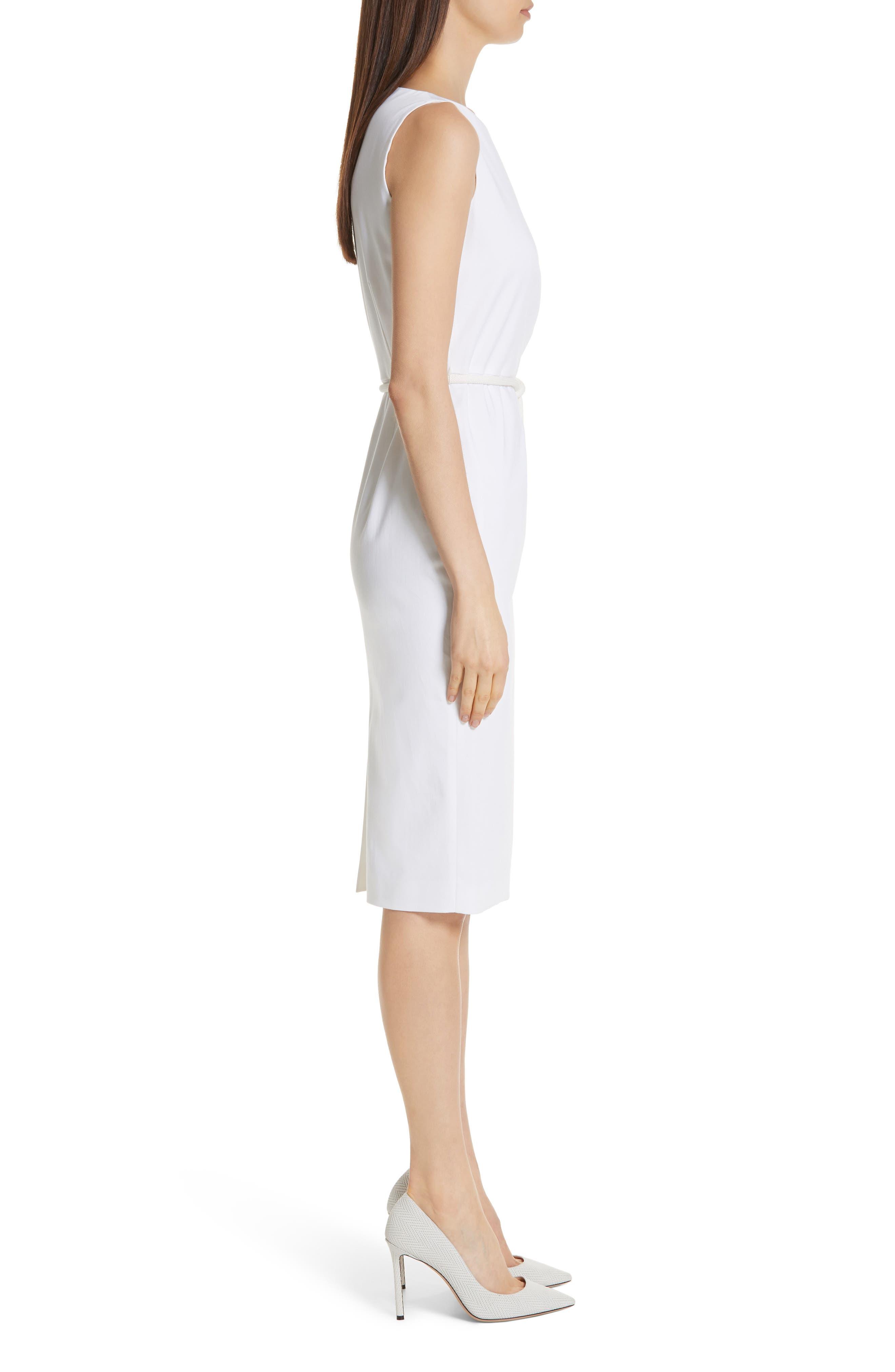 MAX MARA, Cordoba Sheath Dress, Alternate thumbnail 5, color, OPTICAL WHITE